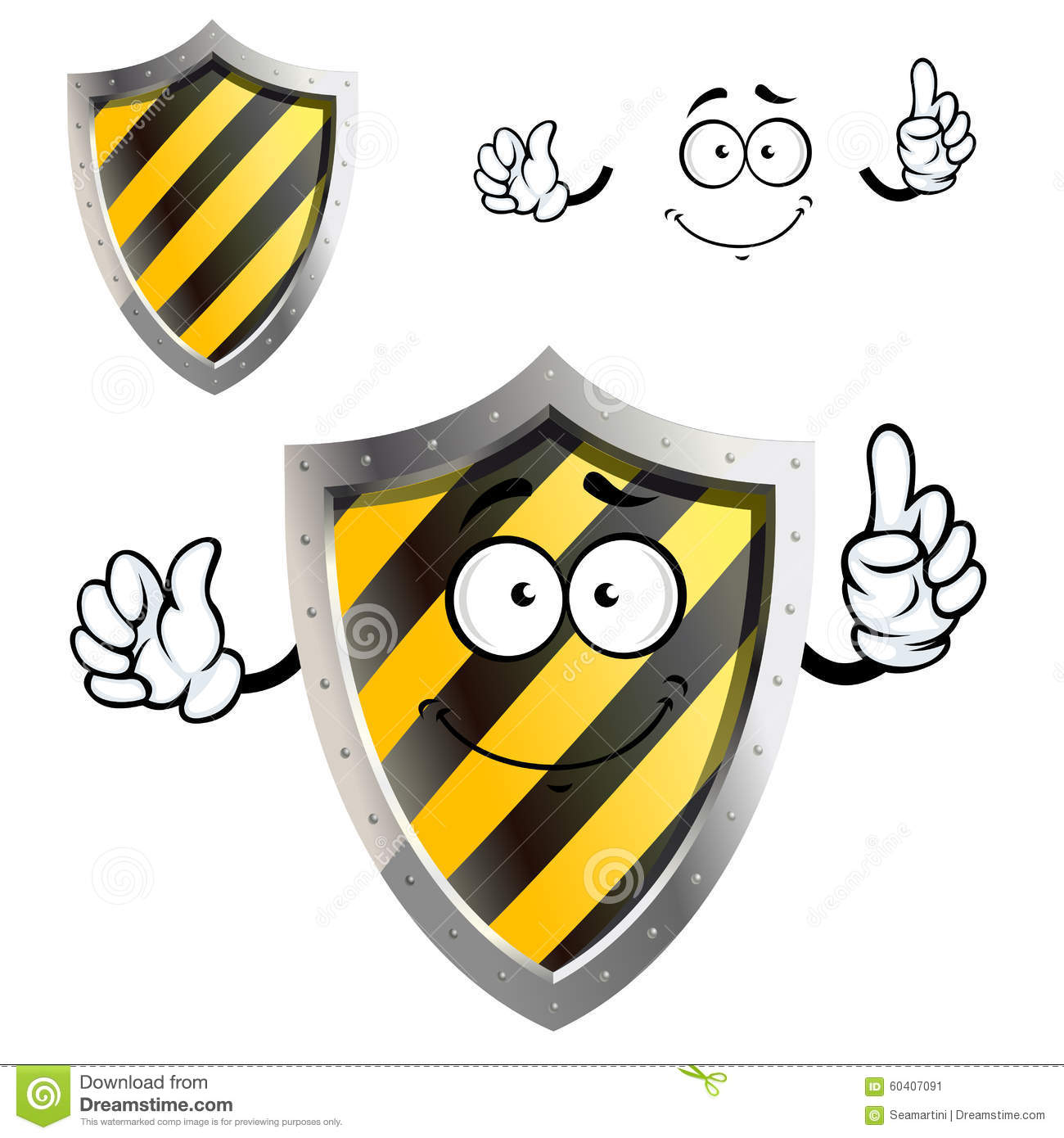 Cartoon Characters Yellow And Black Striped Shirts : Cartoon protective or warning sign shield stock vector