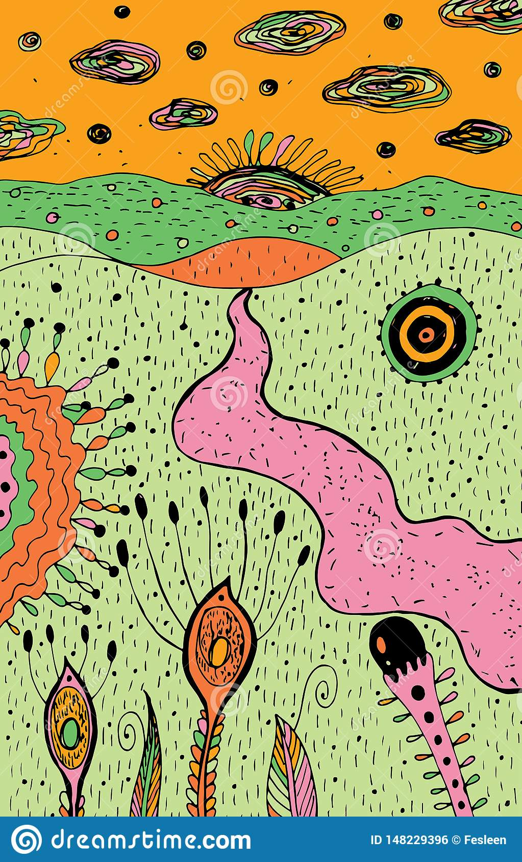 Cartoon Psychedelic Landscape Colorful Hippie Art