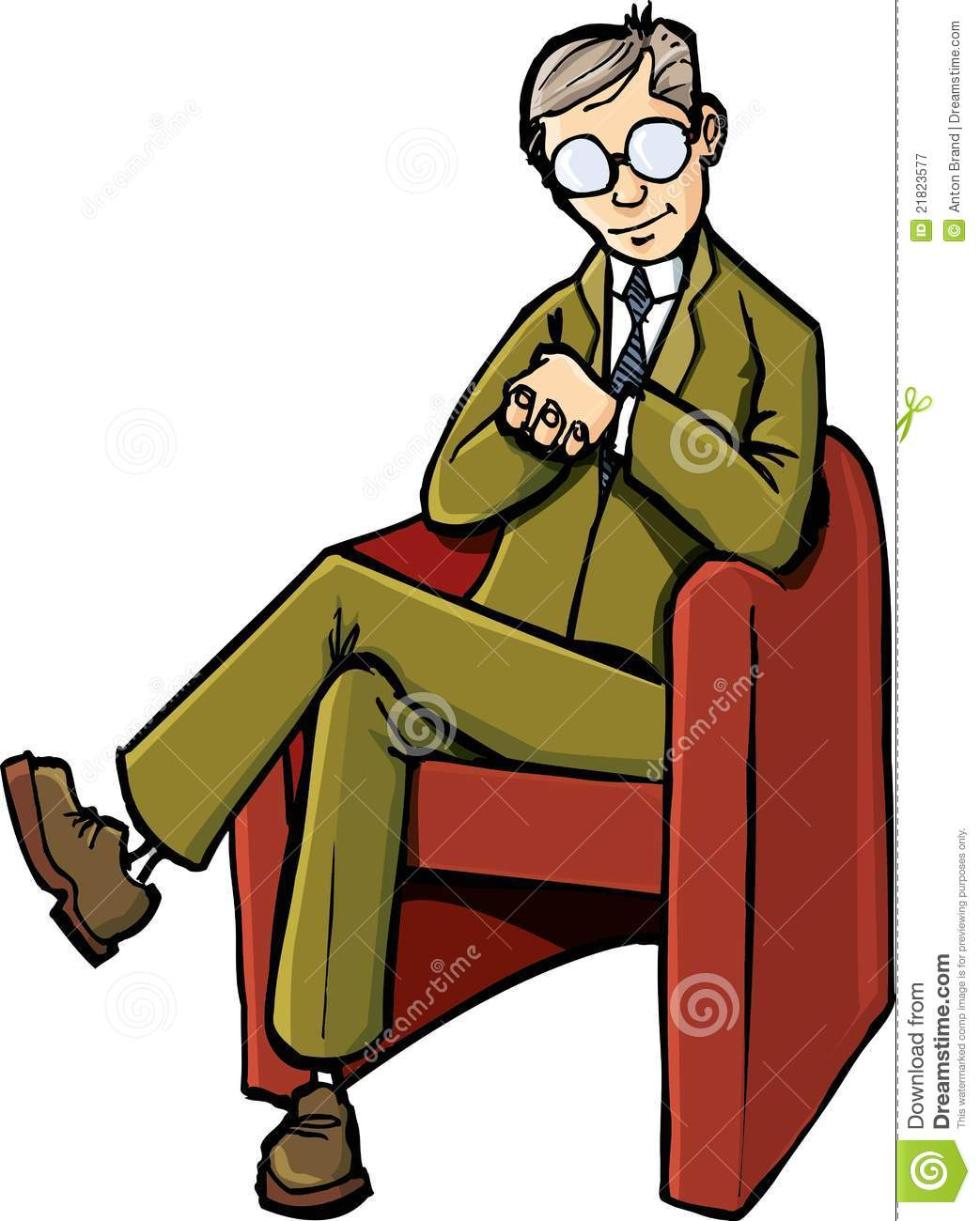 Cartoon Psychiatrist Sitting On His Chair Royalty Free Stock ...