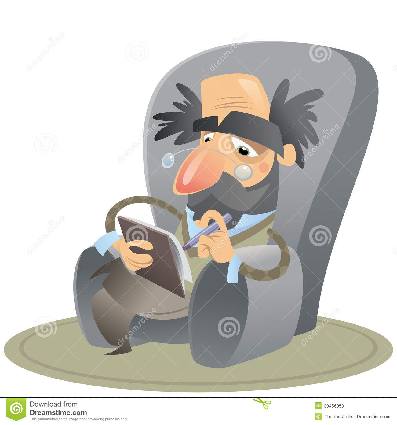 Cartoon Psychologist Sitting On An Arm Chair Keeping Notes
