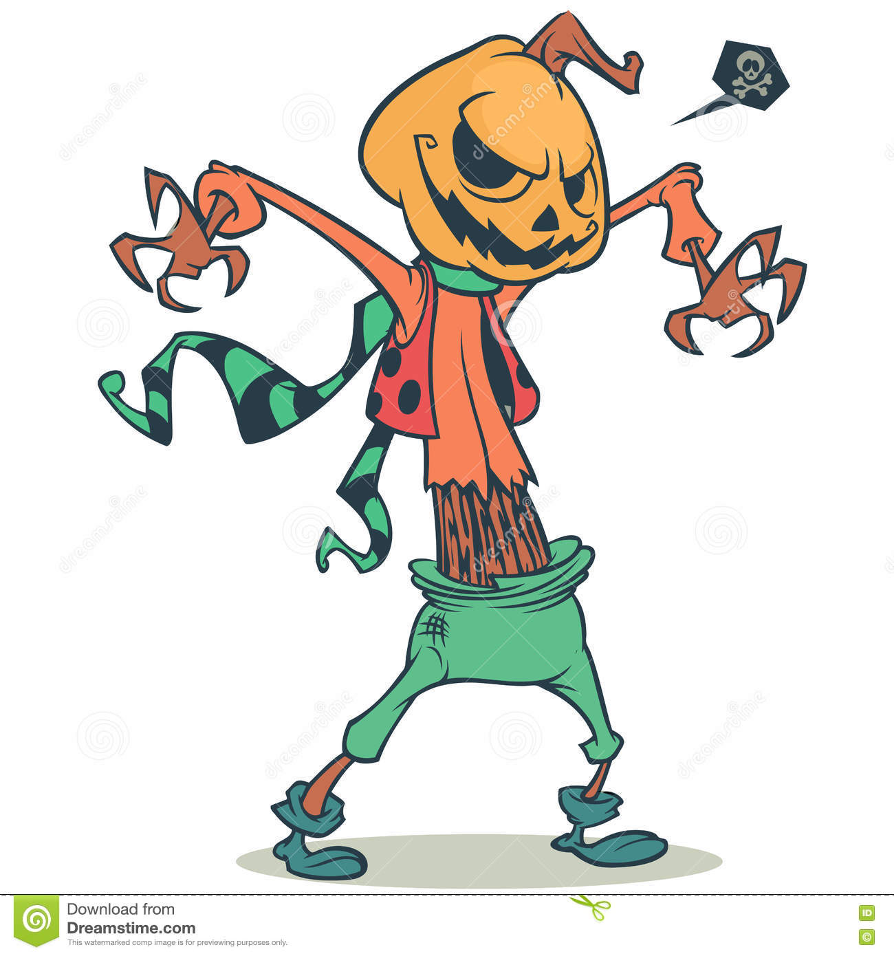Cartoon Pumpkin Head Scarecrow. Vector Template For Halloween Party ...
