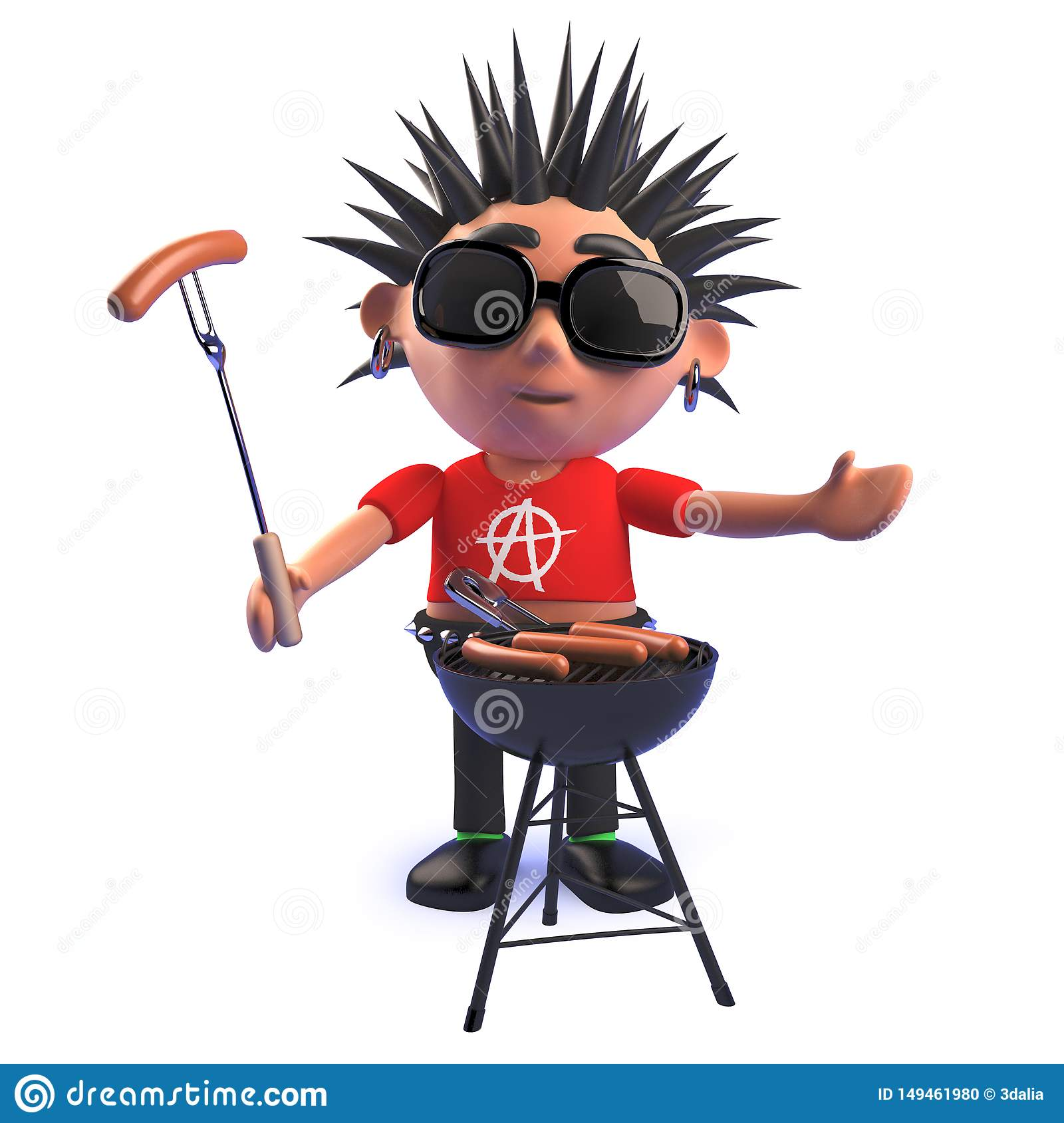 Cartoon punk rocker character in 3d cooking a bbq barbecue