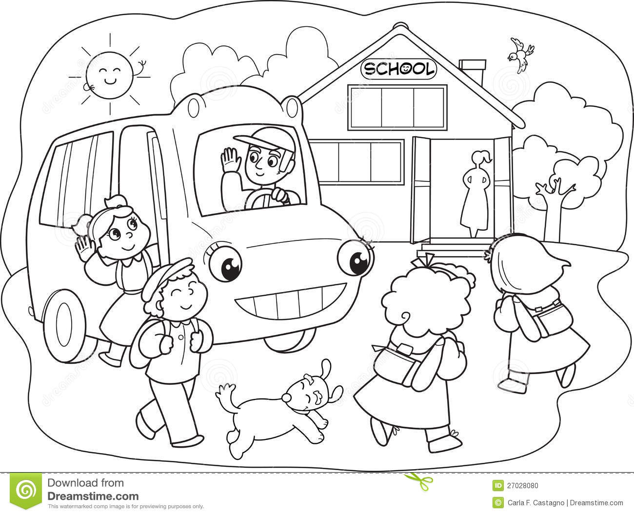 Cartoon Pupils On Schoolbus Vector Stock Vector