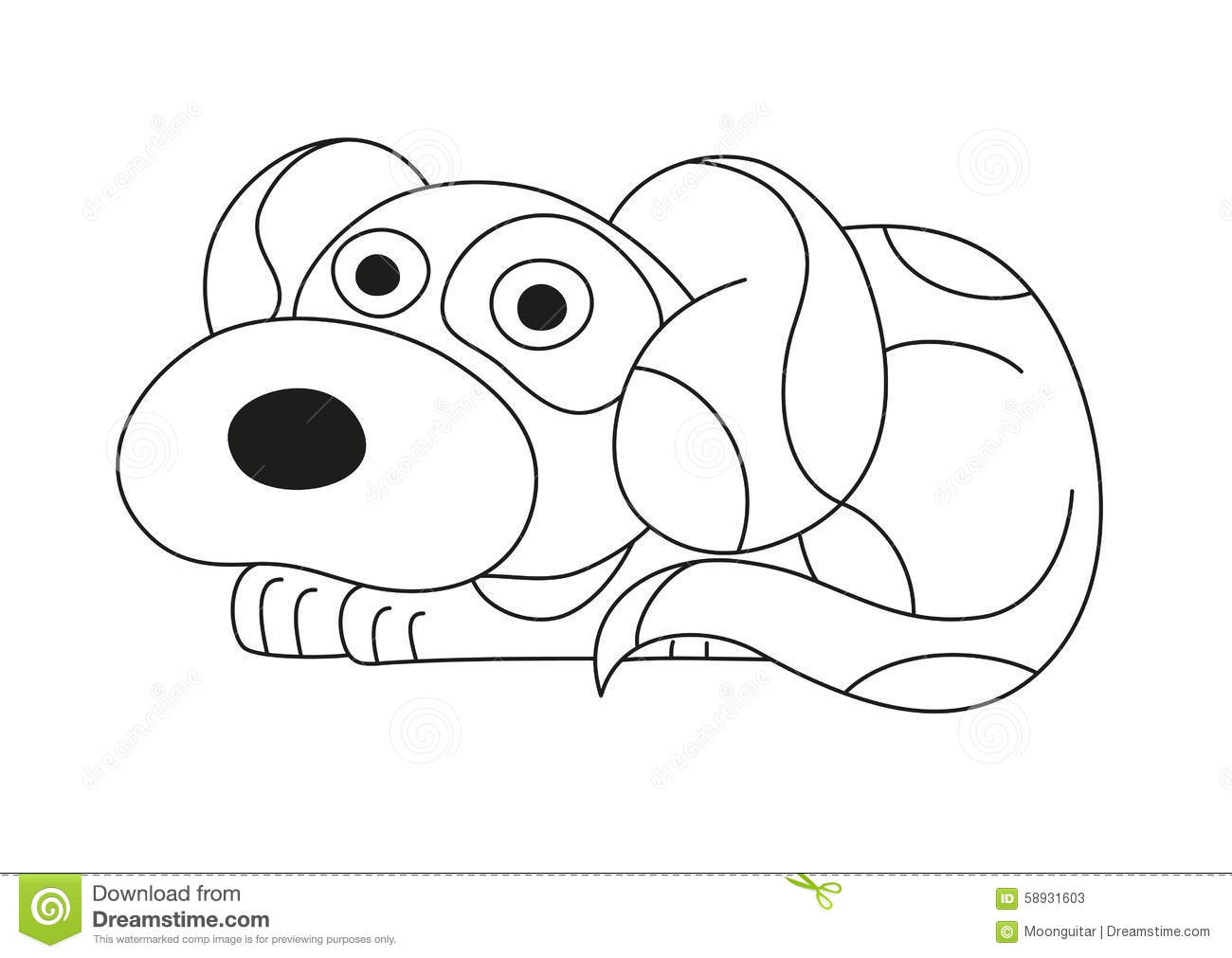Cartoon Puppy, Coloring Book Page For Children Stock Vector ...