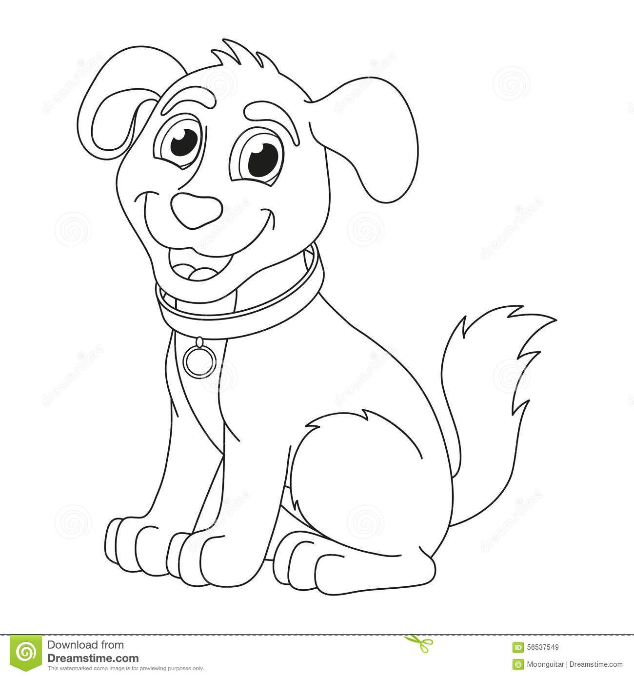 Cartoon Puppy Coloring Book Page For Children Stock