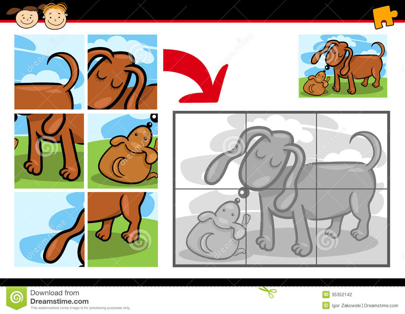 cartoon puppy jigsaw puzzle game stock photography image Dog Nose Diagram