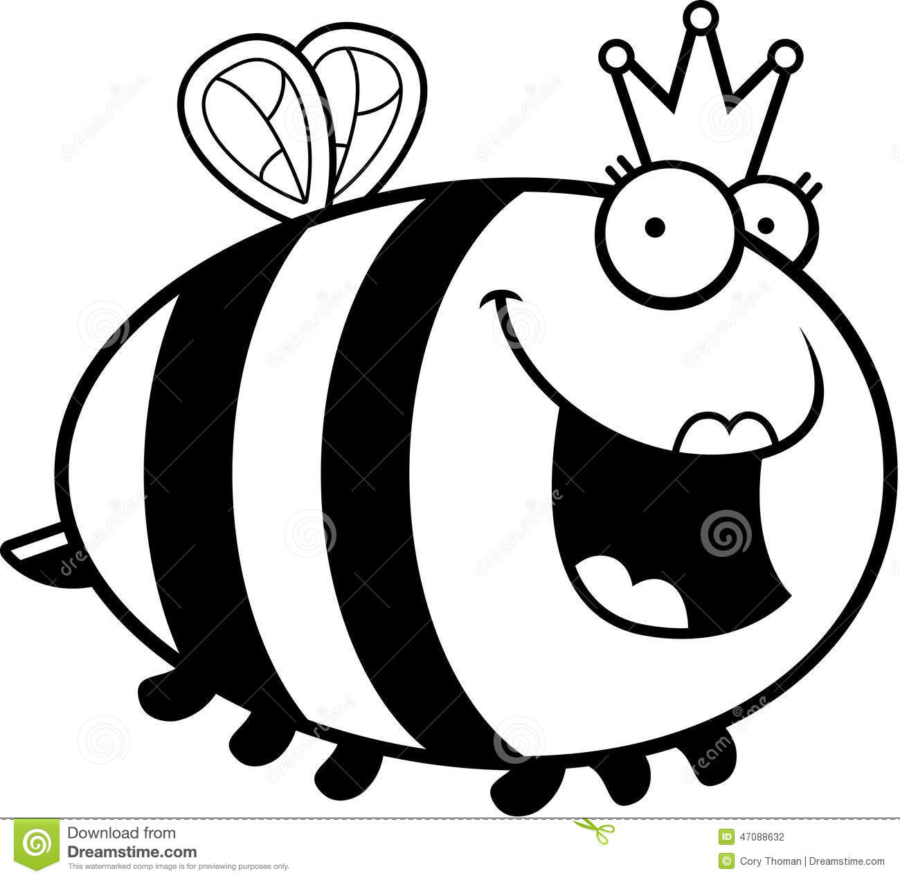 cartoon queen bee stock vector illustration of insect 47088632 rh dreamstime com