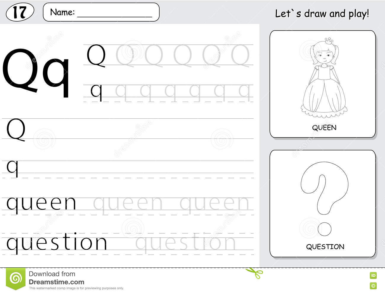 Alphabet Tracing Worksheet: Writing Stock Photo