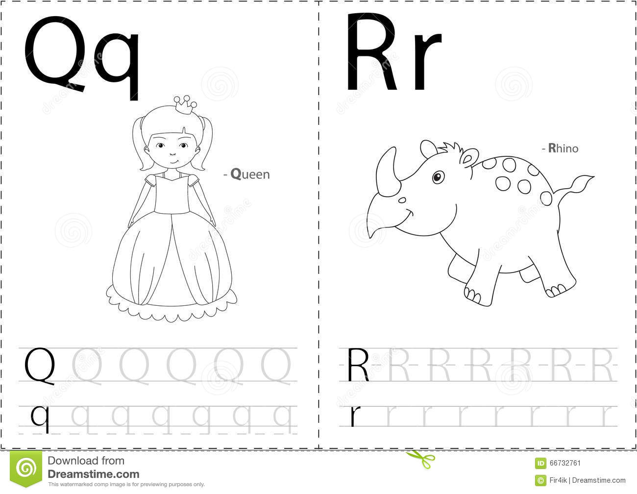 Cartoon queen and rhino alphabet tracing worksheet writing a z royalty free vector robcynllc Images
