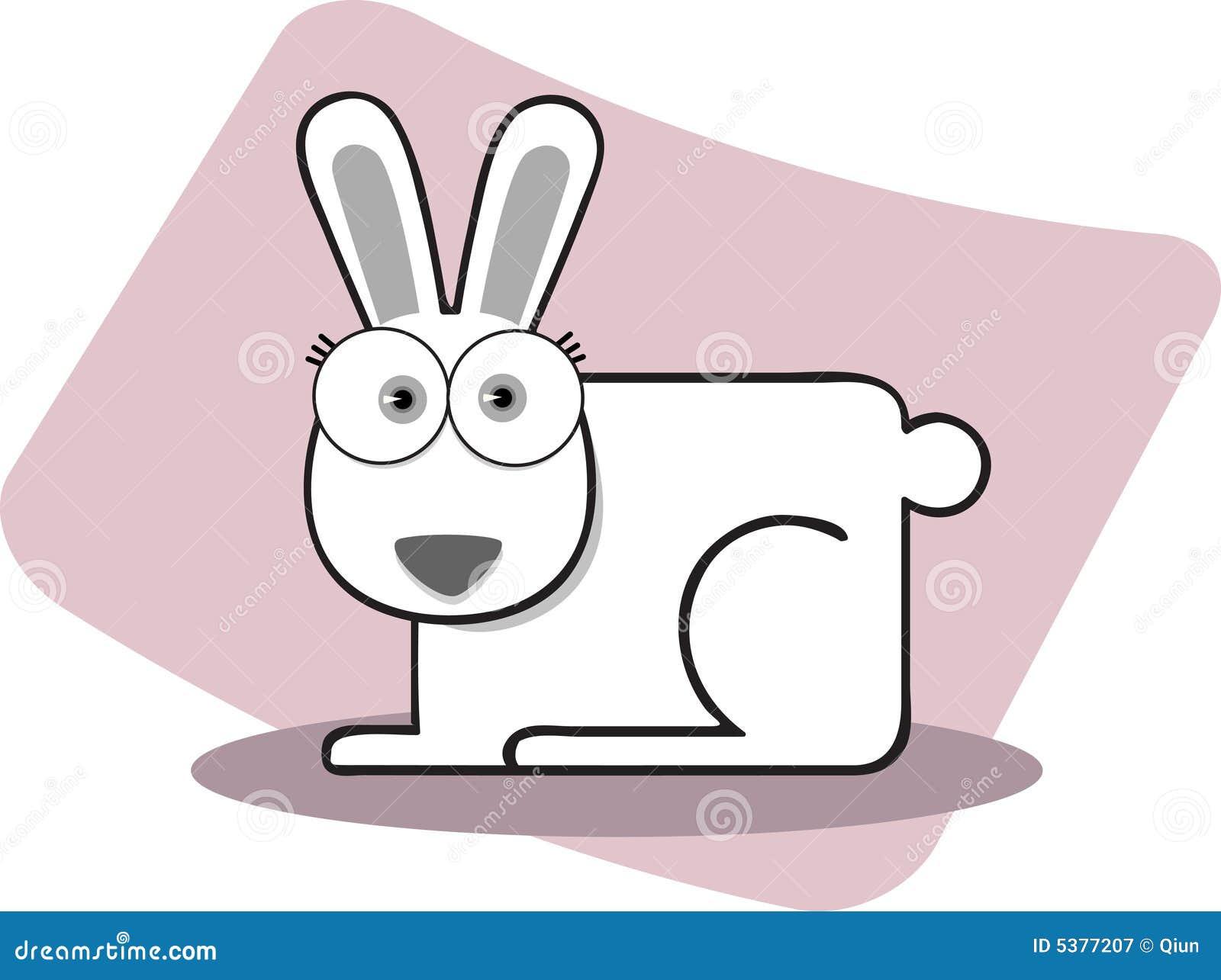 Cartoon rabbit black and white
