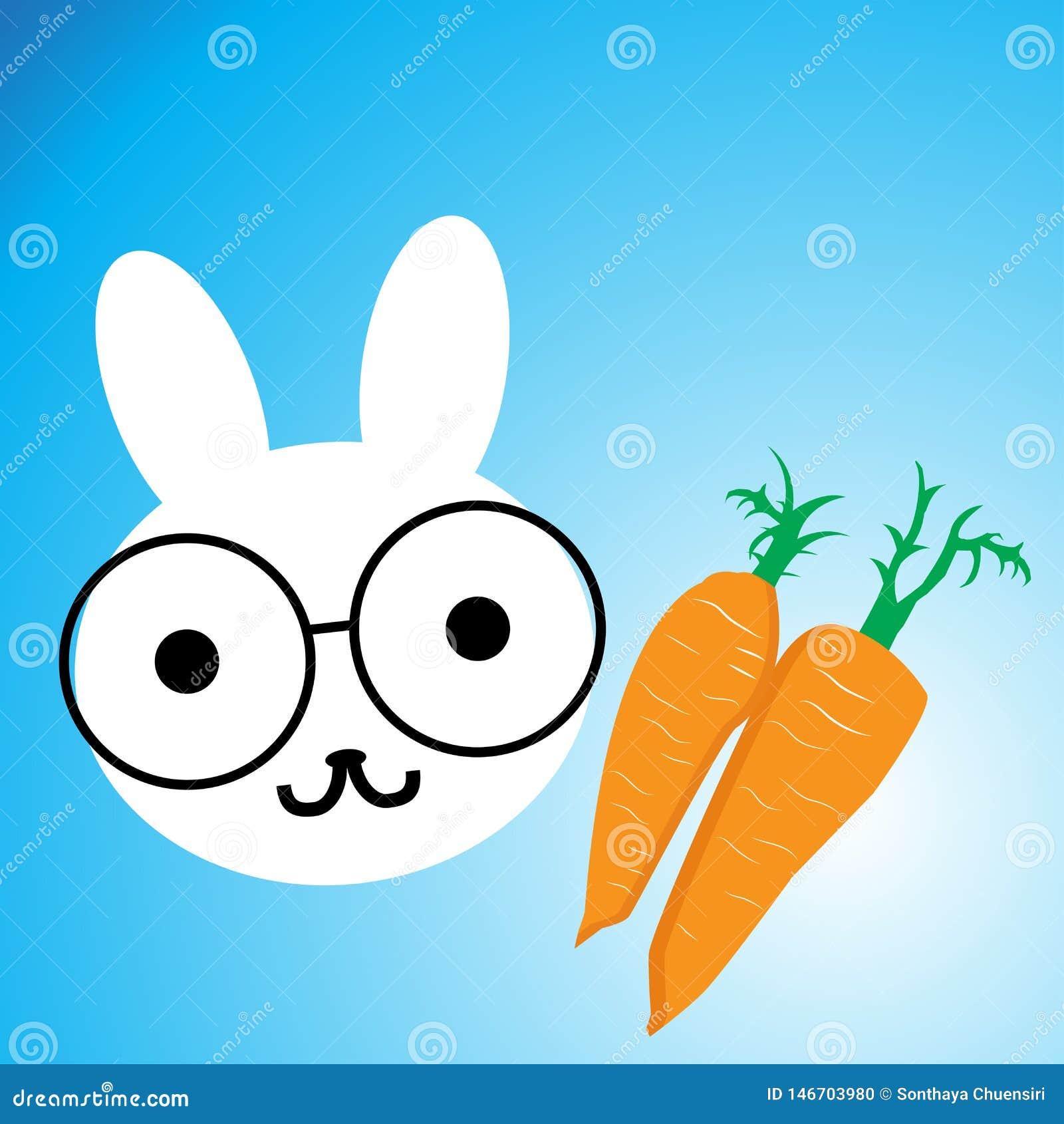Cartoon rabbit and carrots