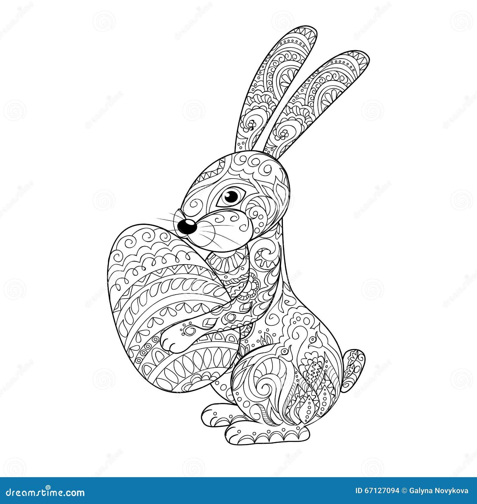 Cartoon rabbit with egg stock vector Illustration of