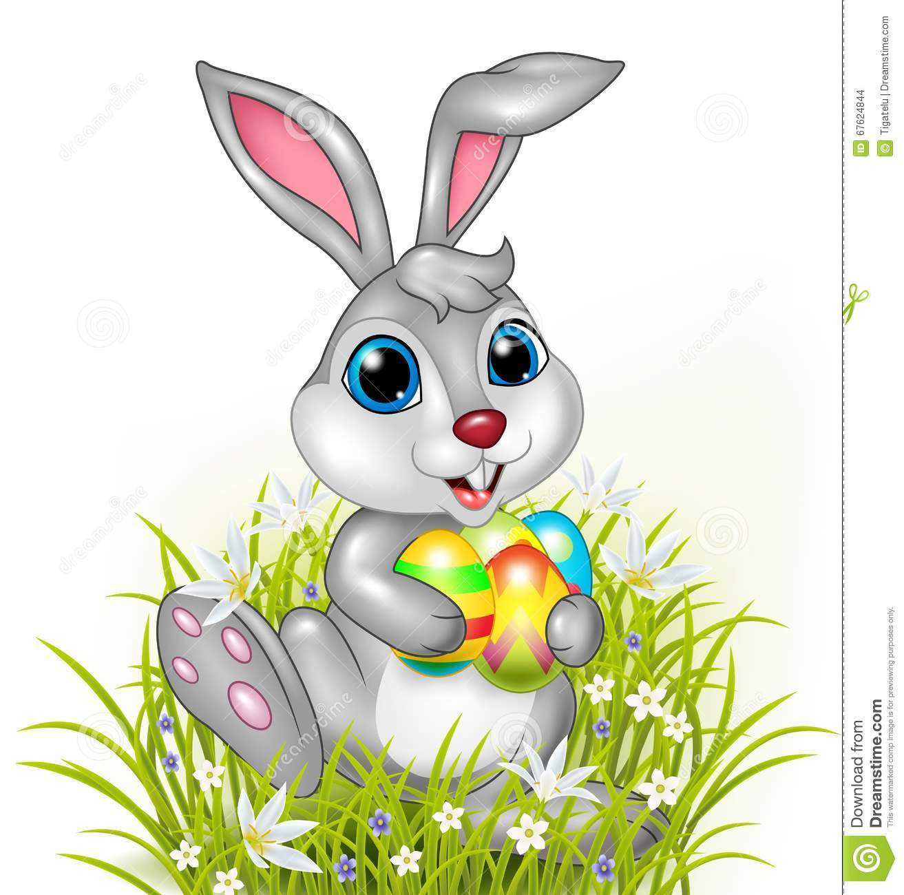 Cartoon Rabbit Holding Colorful Easter Eggs Stock Vector