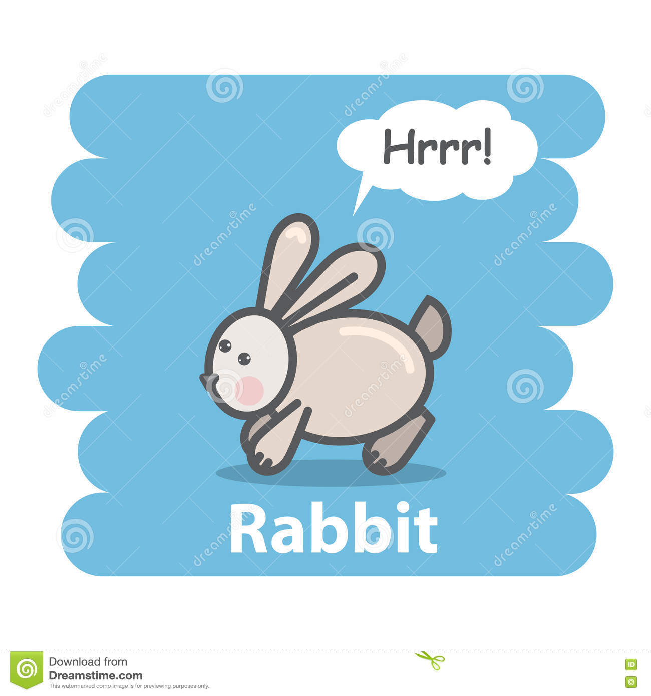 Cute rabbit vector illustration on isolated background.Cartoon rabbit farm animal  speak Hrrr on a speech bubble.From the series what the say animals