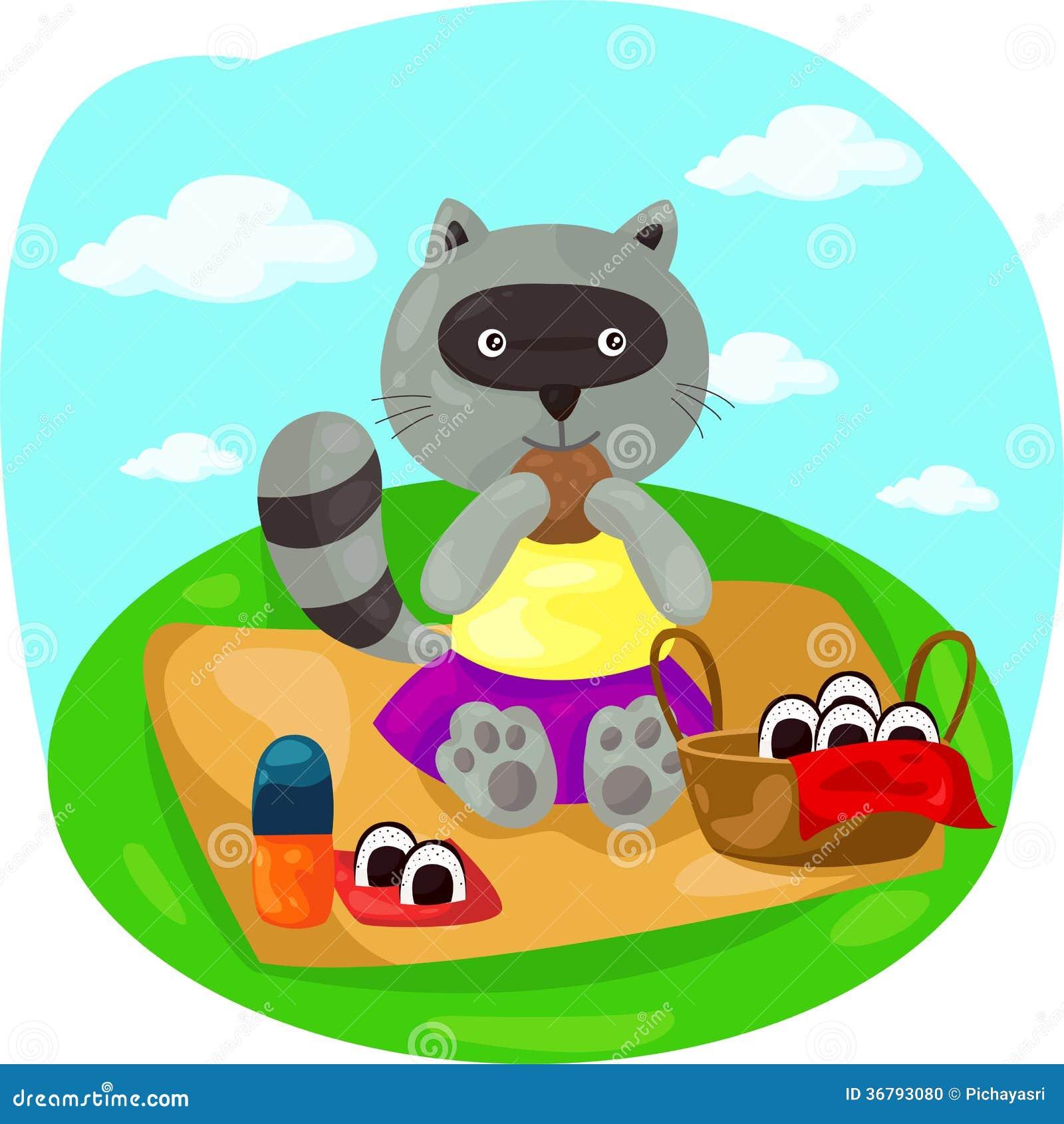 Cartoon Raccoon Picnic...