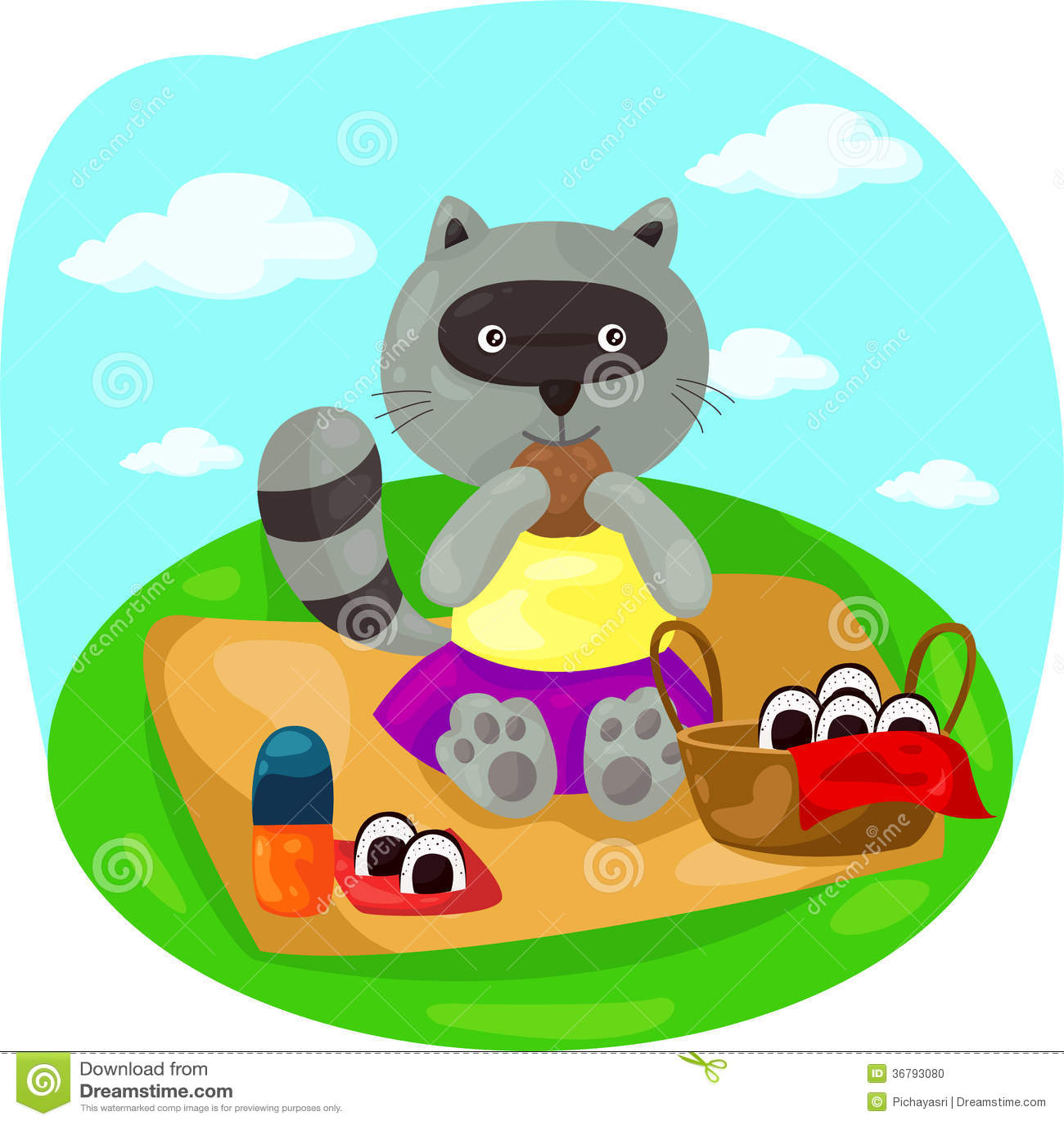 Cartoon Raccoon Picnic Stock Photo - Image: 36793080