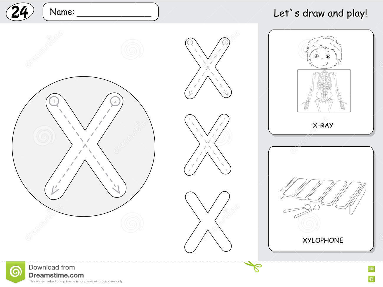 Cartoon X Ray Boy And Xylophone Alphabet Tracing Worksheet Wri