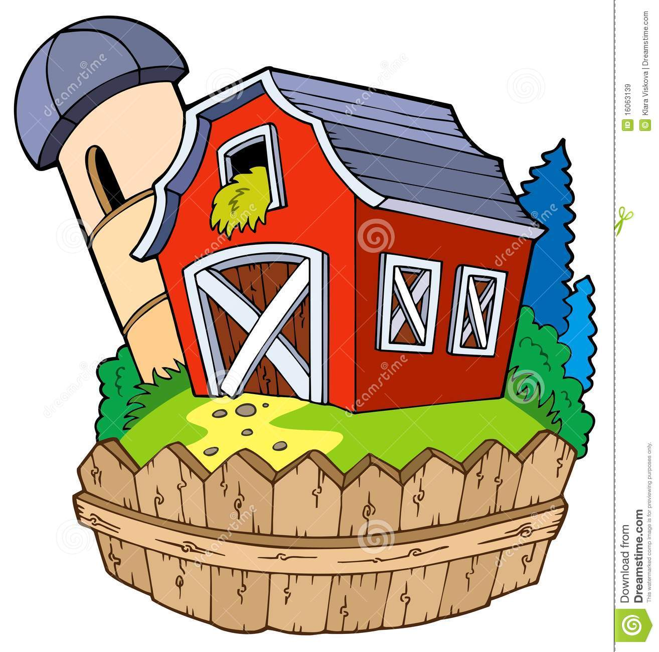 Cartoon Red Barn With Fence Royalty Free Stock Images Image