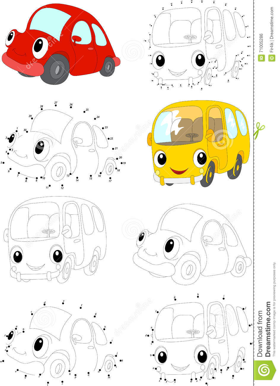 cartoon red car and yellow bus coloring book and dot to dot gam