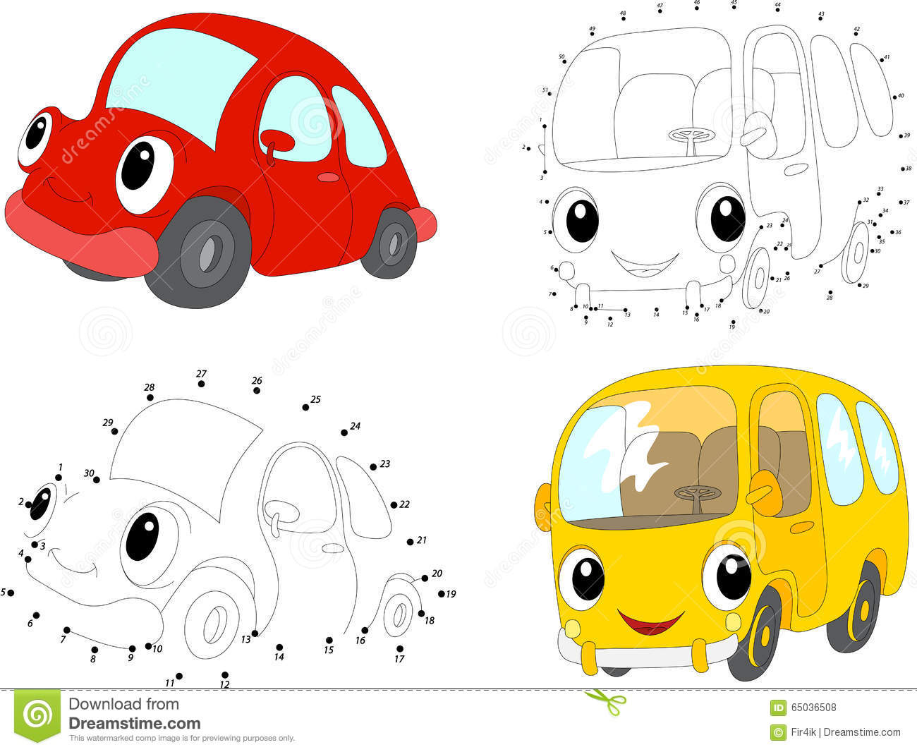 cartoon red car and yellow bus vector illustration dot to dot stock vector image 65036508. Black Bedroom Furniture Sets. Home Design Ideas