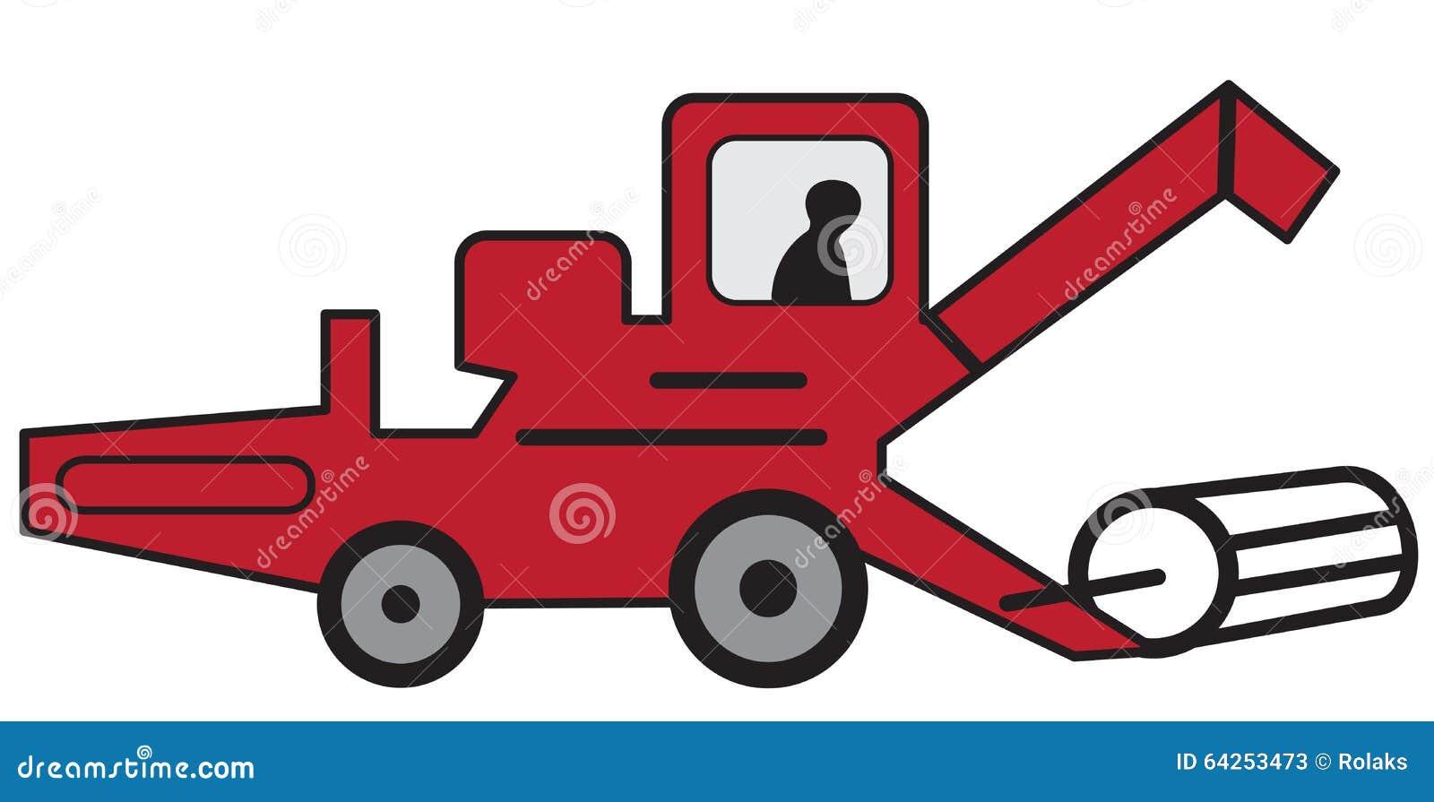 Tractor Cartoon Picker : Cartoon red combine harvester stock vector image