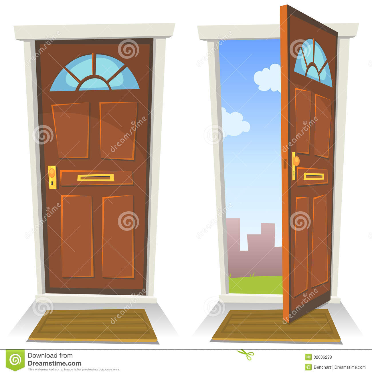 ... Red Door, Open And Closed Royalty Free Stock Photos - Image: 32006298