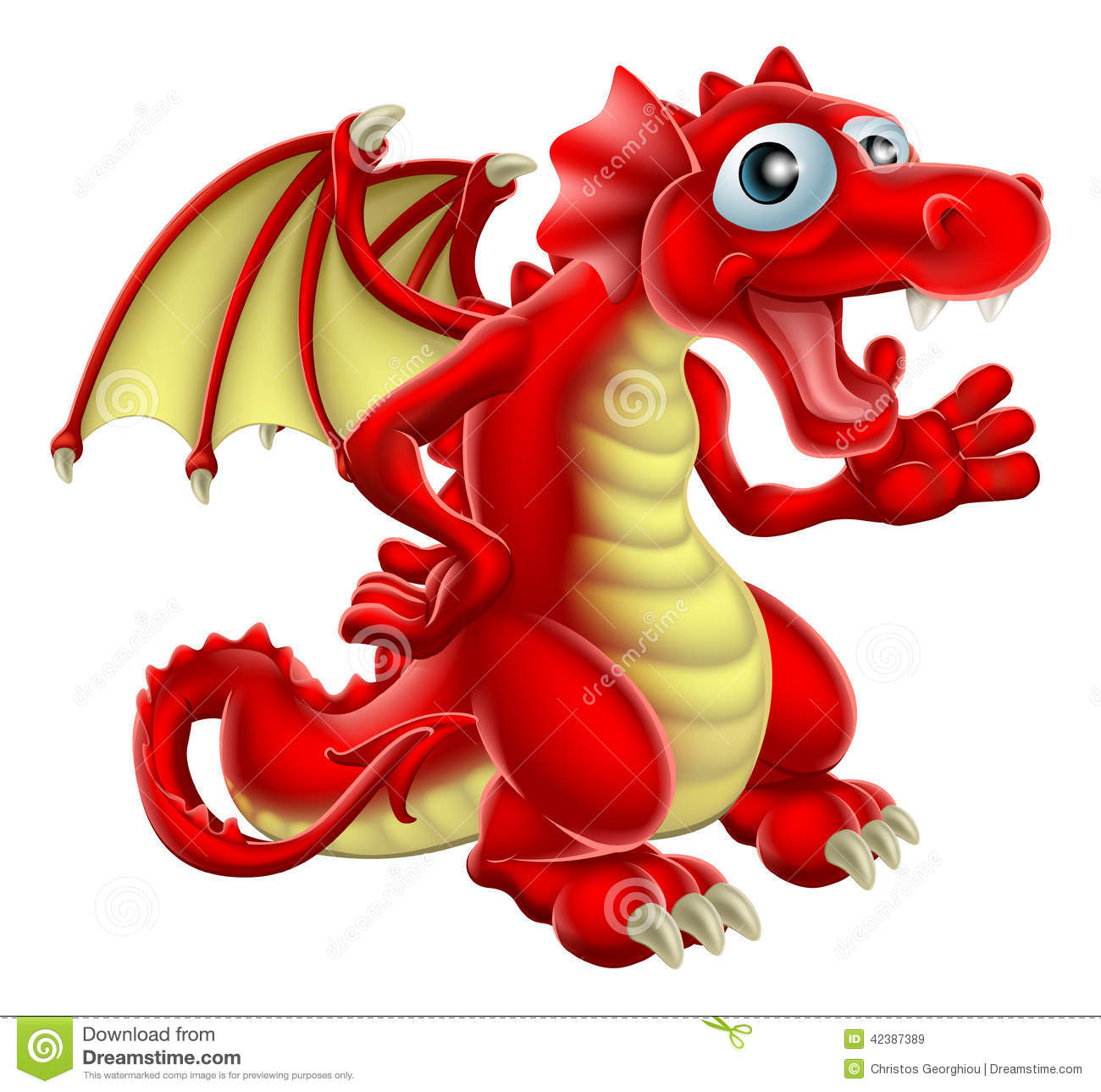 Cartoon illustration of a friendly Red Dragon smiling and waving.