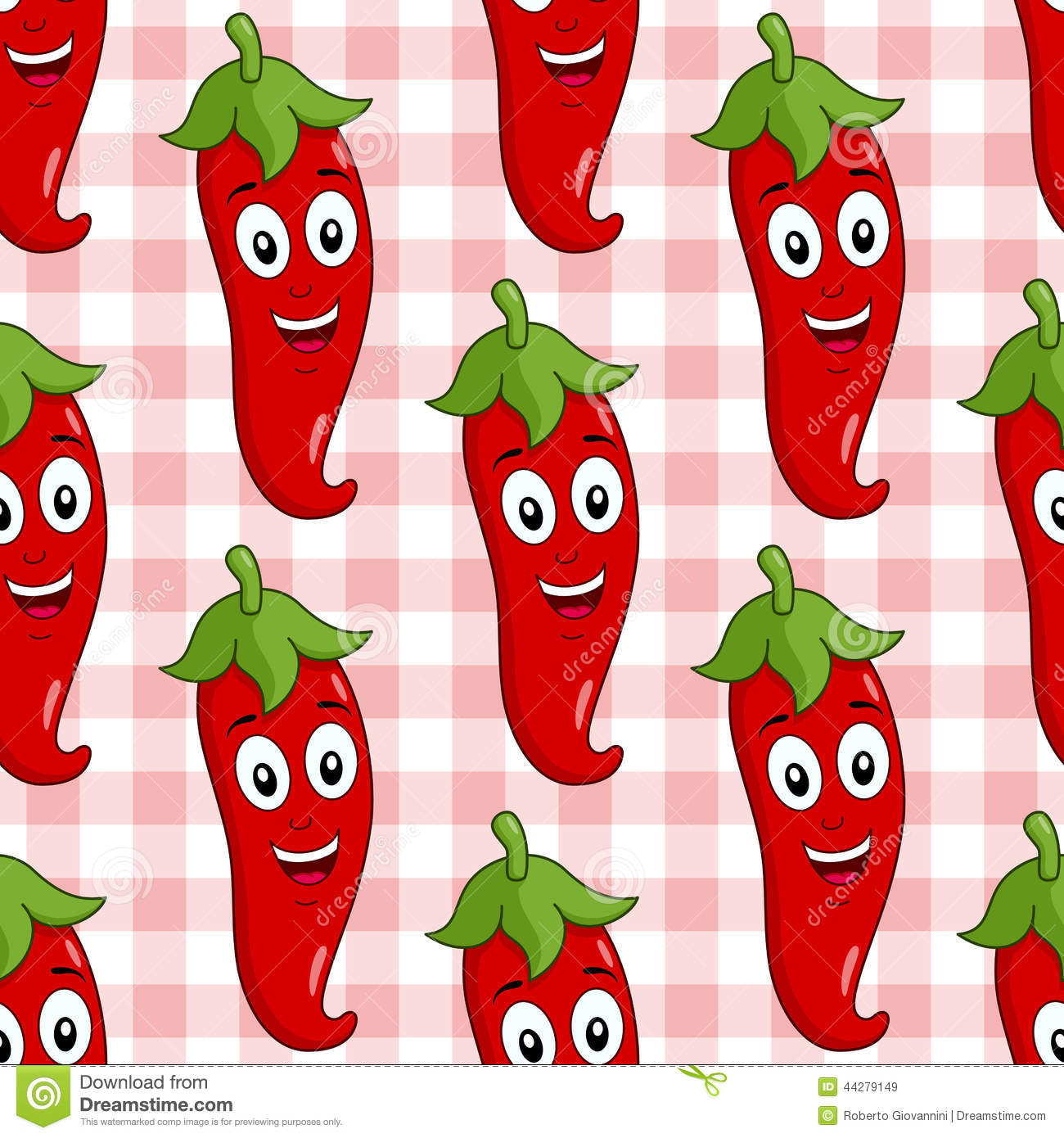 Bon A Seamless Pattern With A Cartoon Cute Red Hot Chili Pepper Character  Smiling, On A Checkered Picnic Tablecloth Background. Useful Also As Design  Element ...