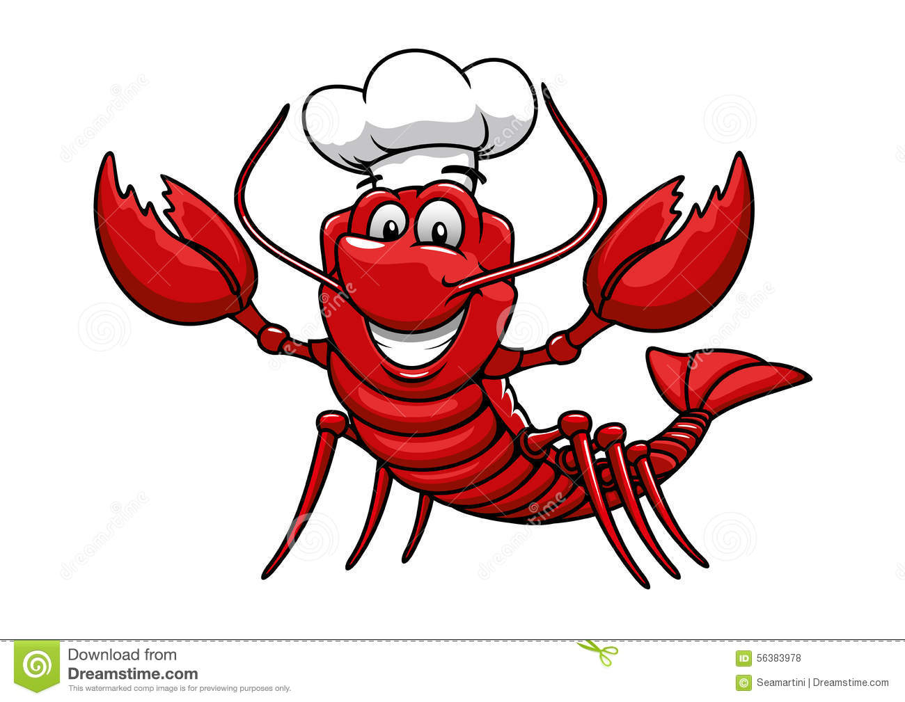 Cartoon Red Lobster Chef In Toque Cap Stock Vector - Image: 56383978