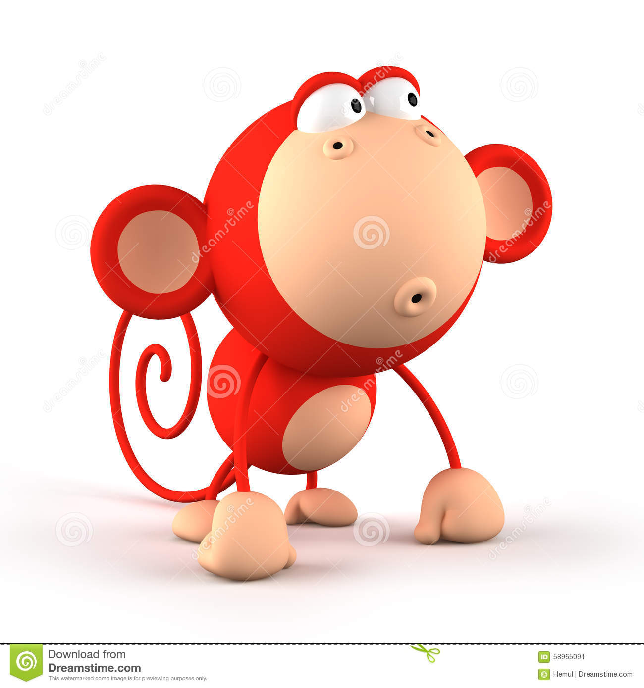 cartoon red monkey isolated on white background stock. Black Bedroom Furniture Sets. Home Design Ideas