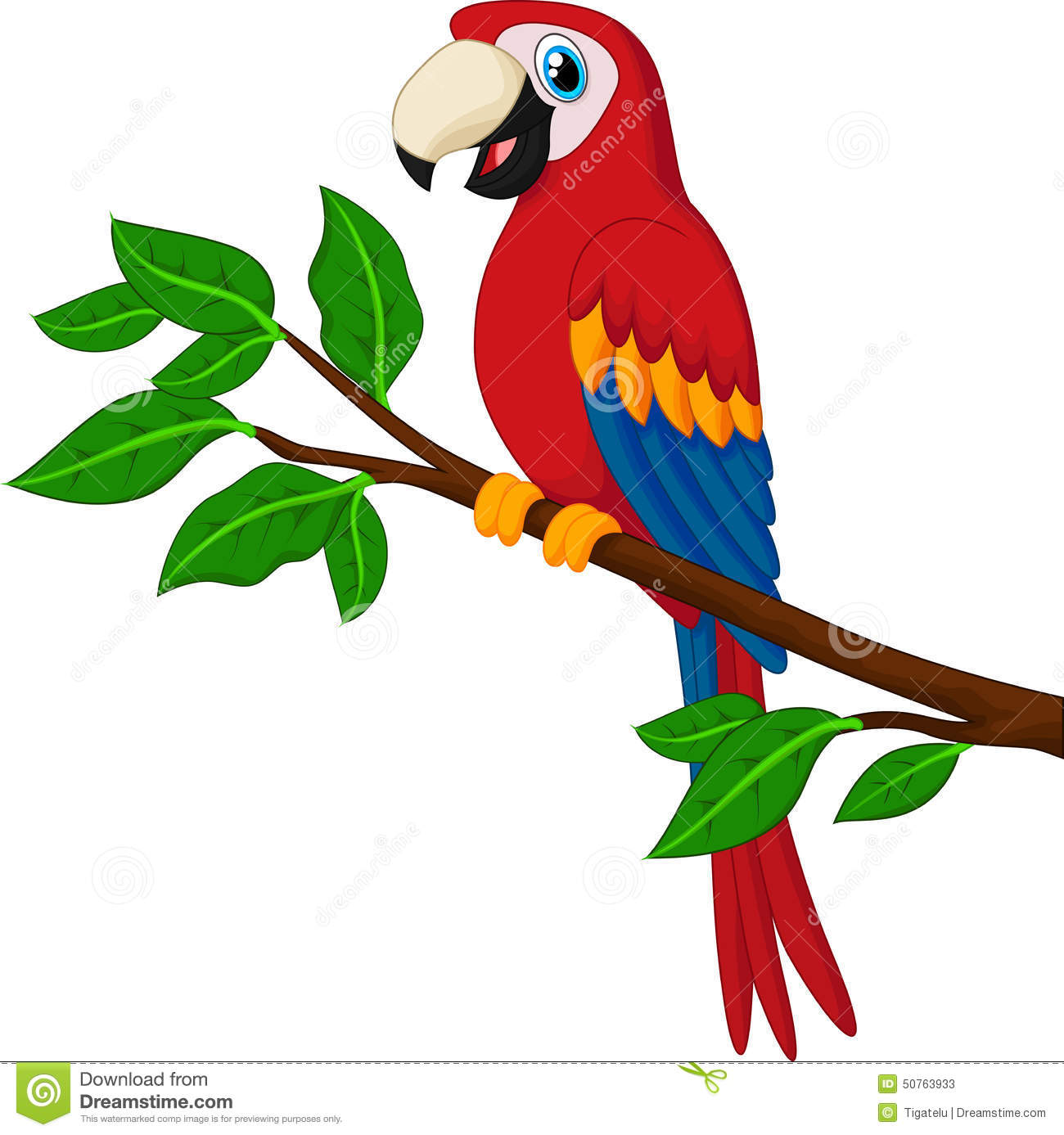 cartoon red parrot on a branch stock vector illustration macaw clipart scarlet macaw clipart