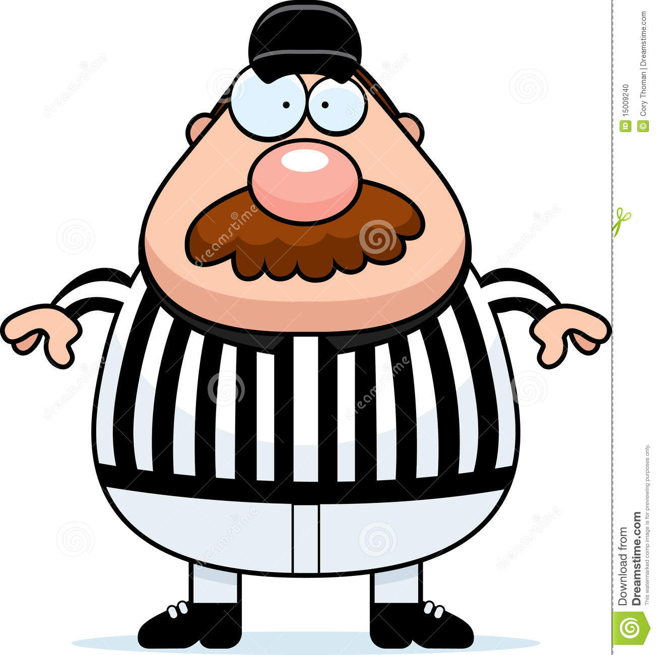 cartoon referee in a black and white uniform.