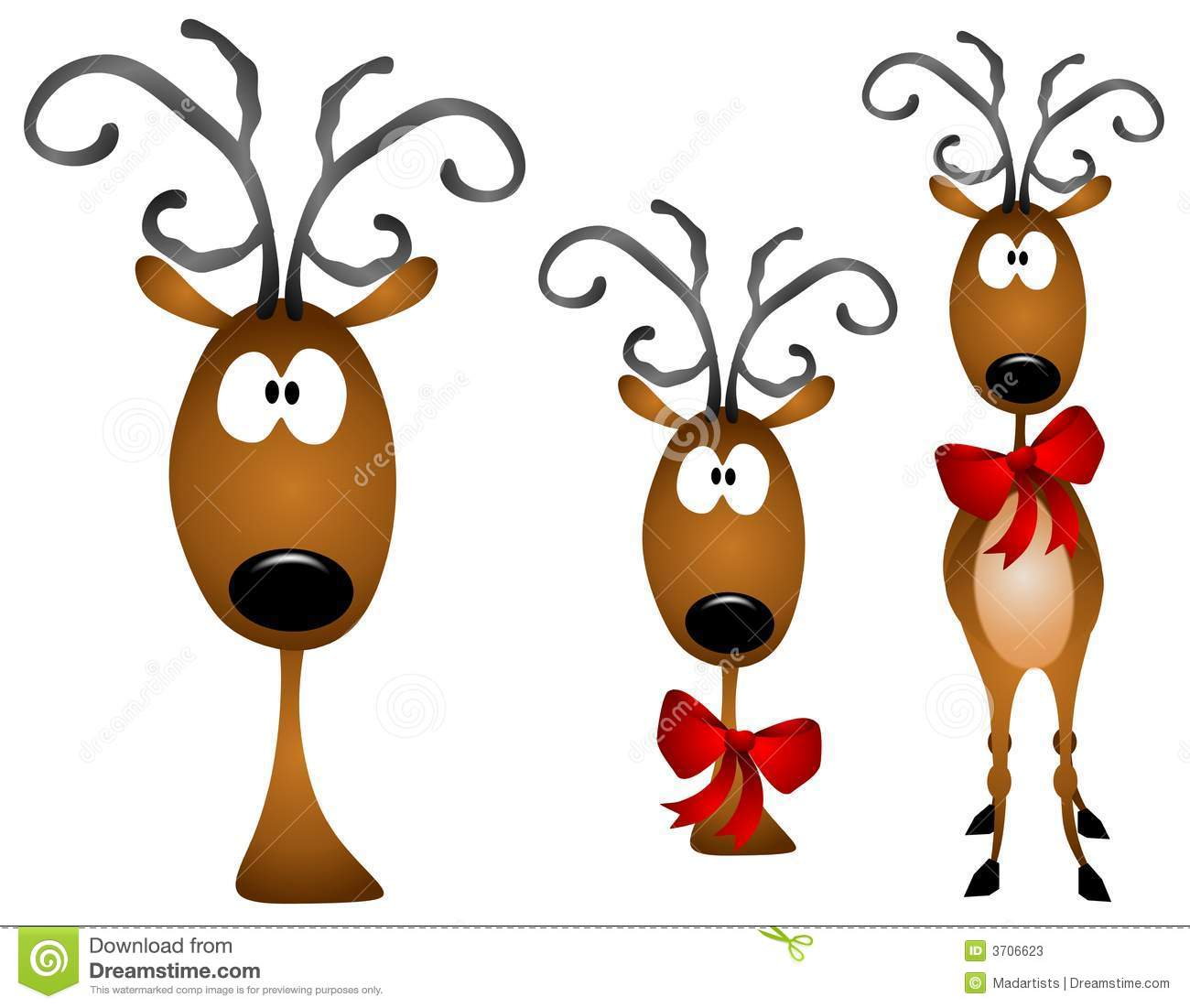 clip art illustration with your choice of 3 similar reindeer clip art ...