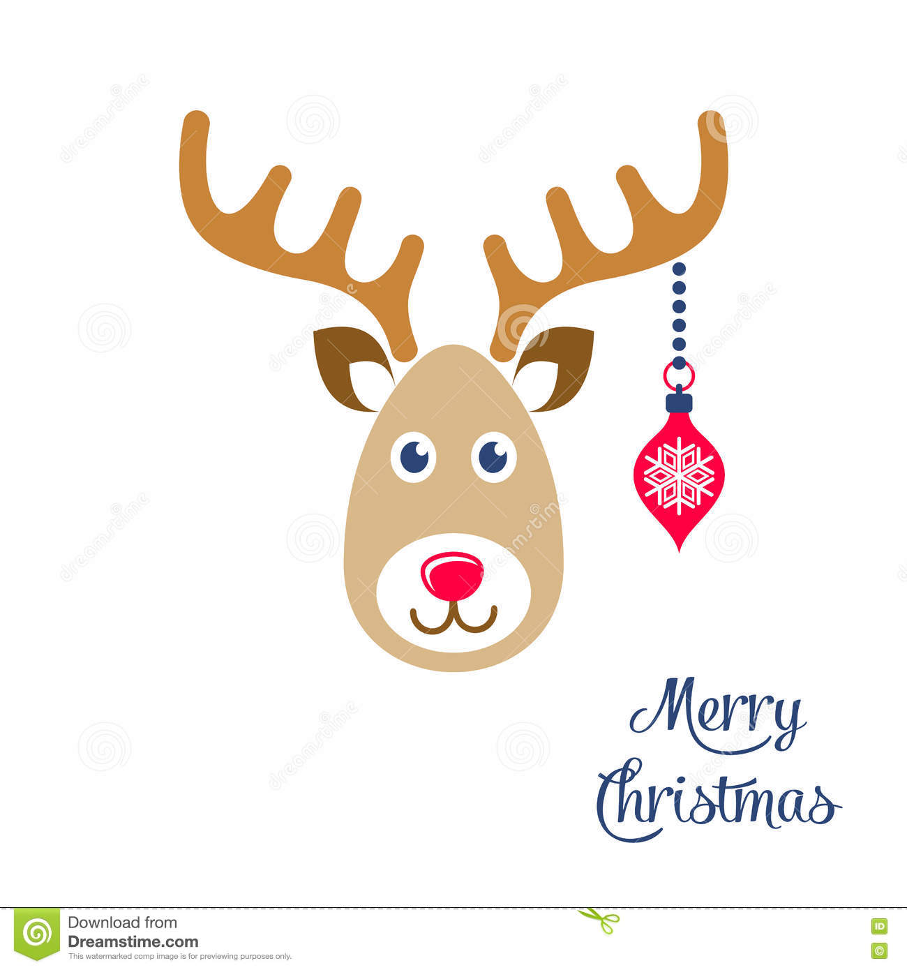 Download Cartoon Reindeer Face Christmas Icon Stock Vector