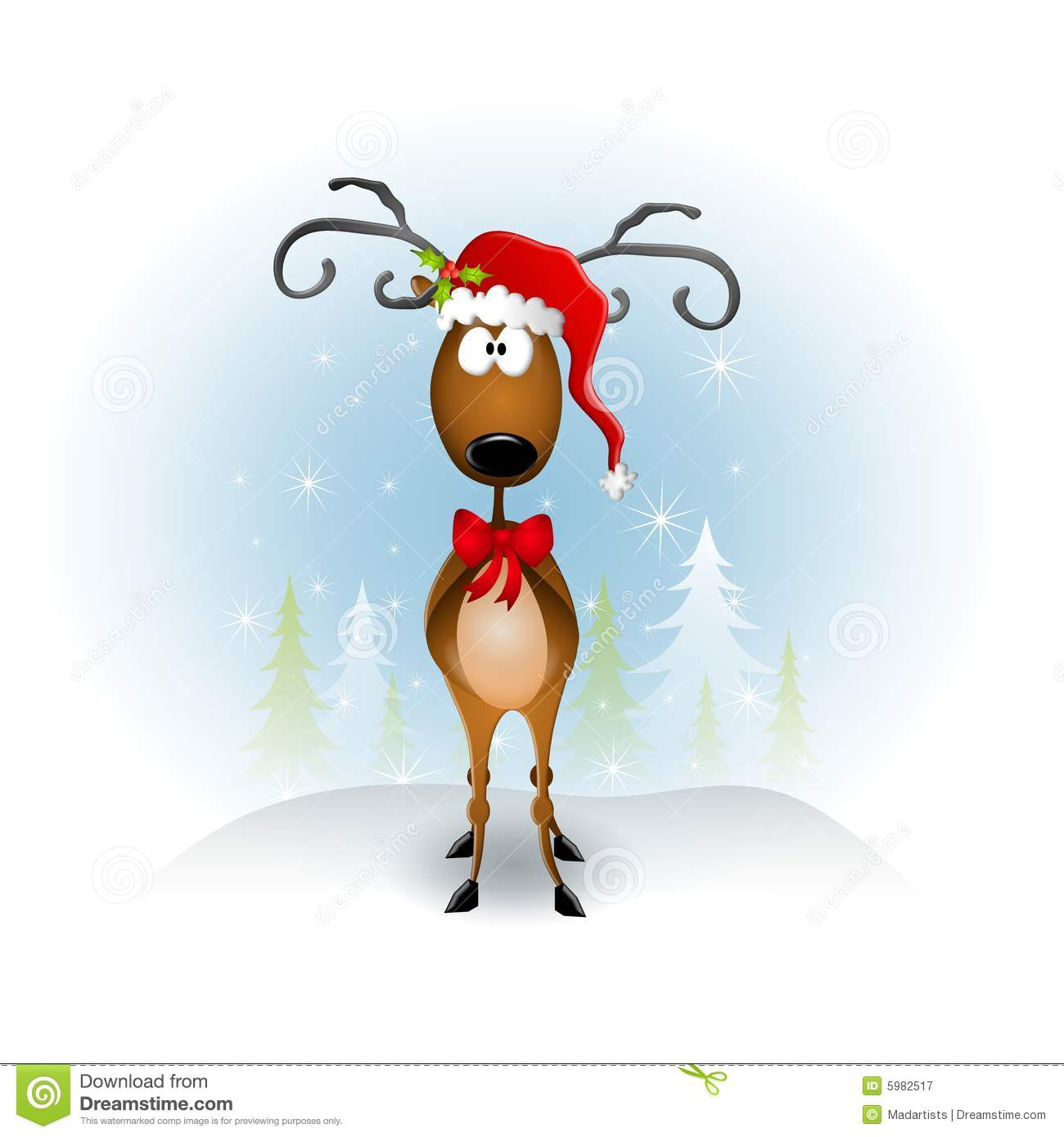 clip art illustration featuring a reindeer wearing a red Santa hat ...
