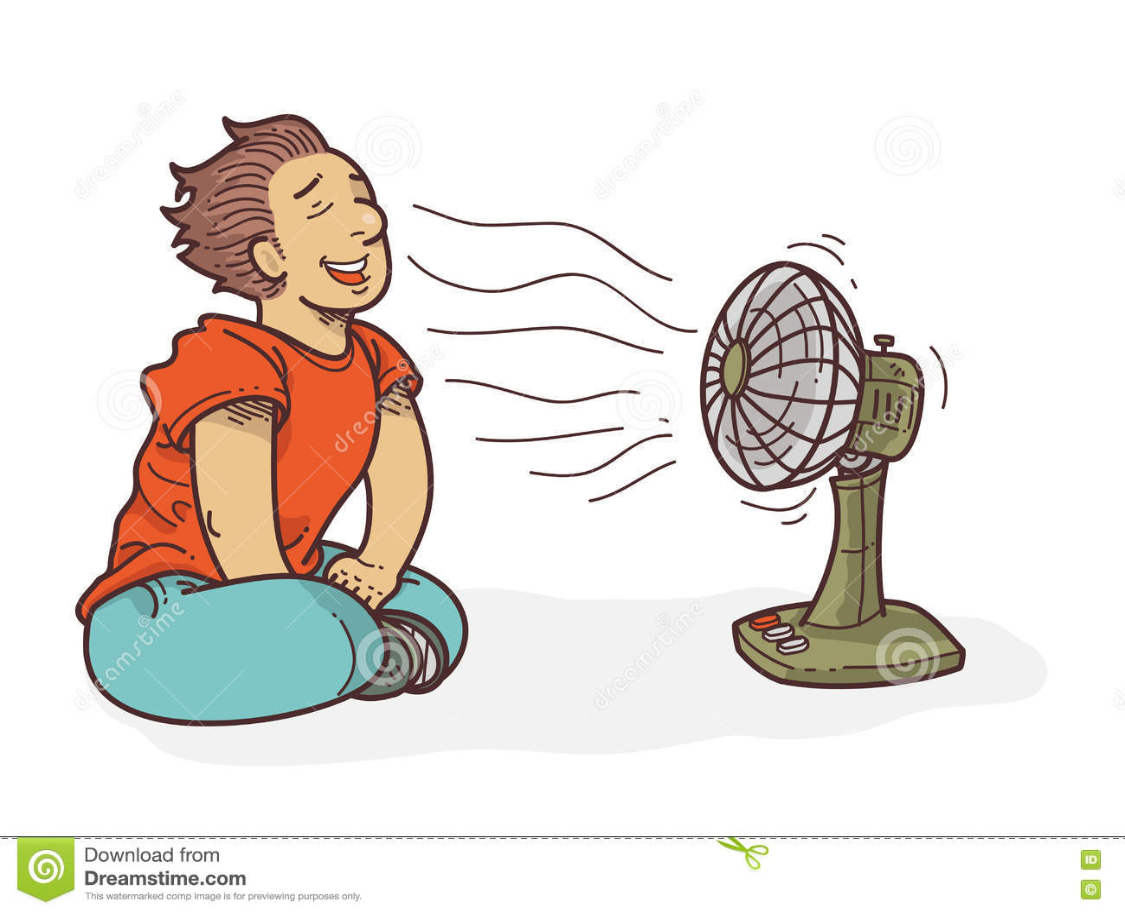 Cartoon Relaxing In Front Of Fan Stock Vector