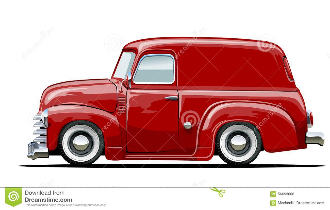 Cartoon Retro Delivery Van Stock Vector - Image: 56693006