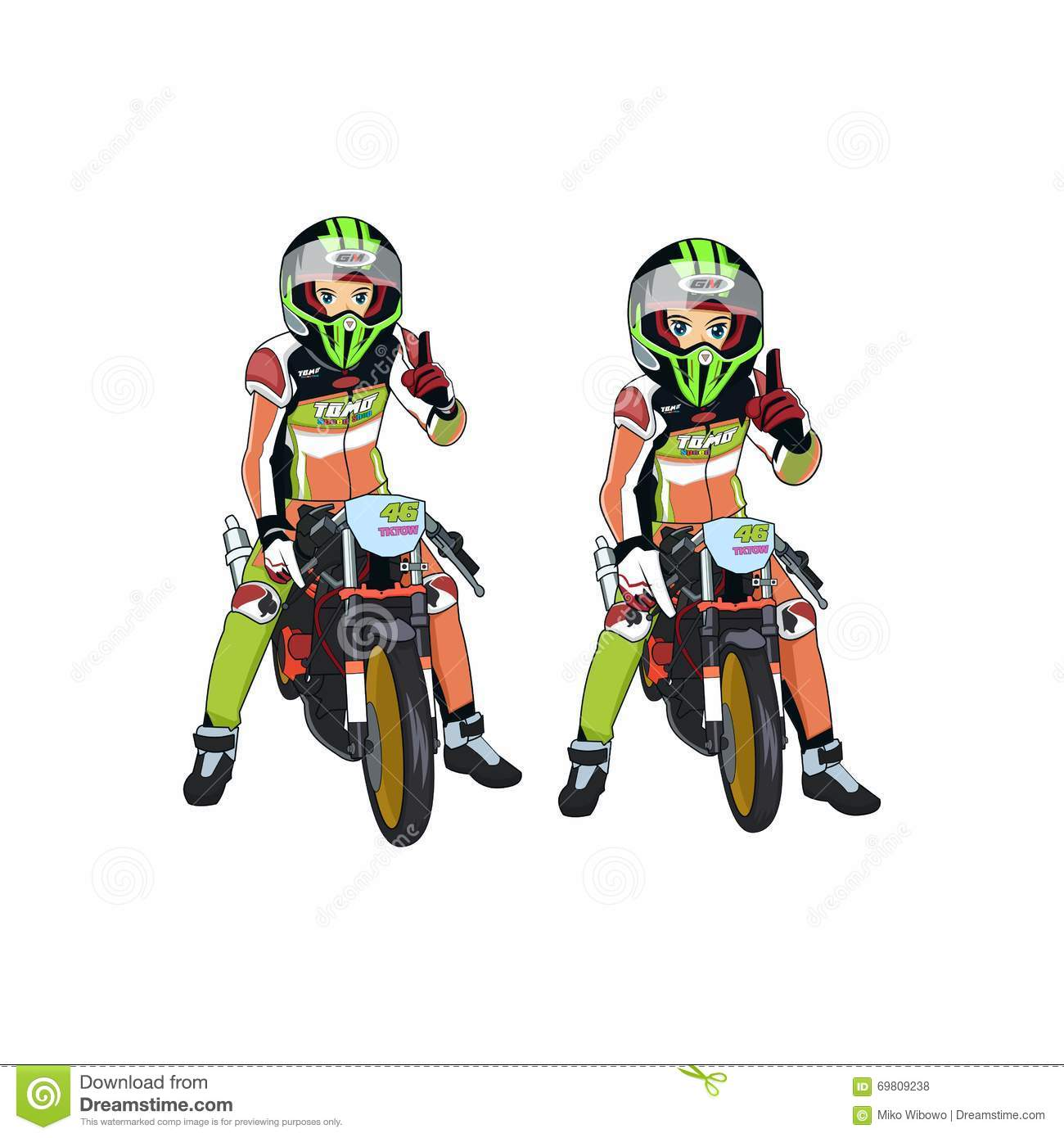 A vector illustration of motorcycle racing on drag race