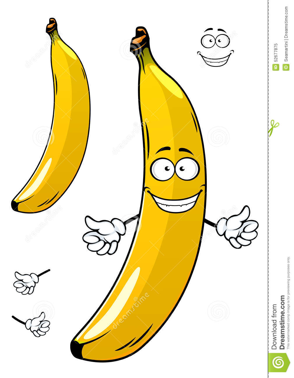 Stock Illustration Cartoon Ripe Yellow Banana Fruit Sunny Character Funny Smiling Face Isolated White Background Image52677875 on banana cartoon character