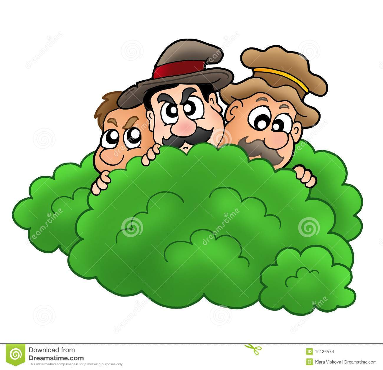 Cartoon Robbers Behind Bush Stock Images - Image: 10136574