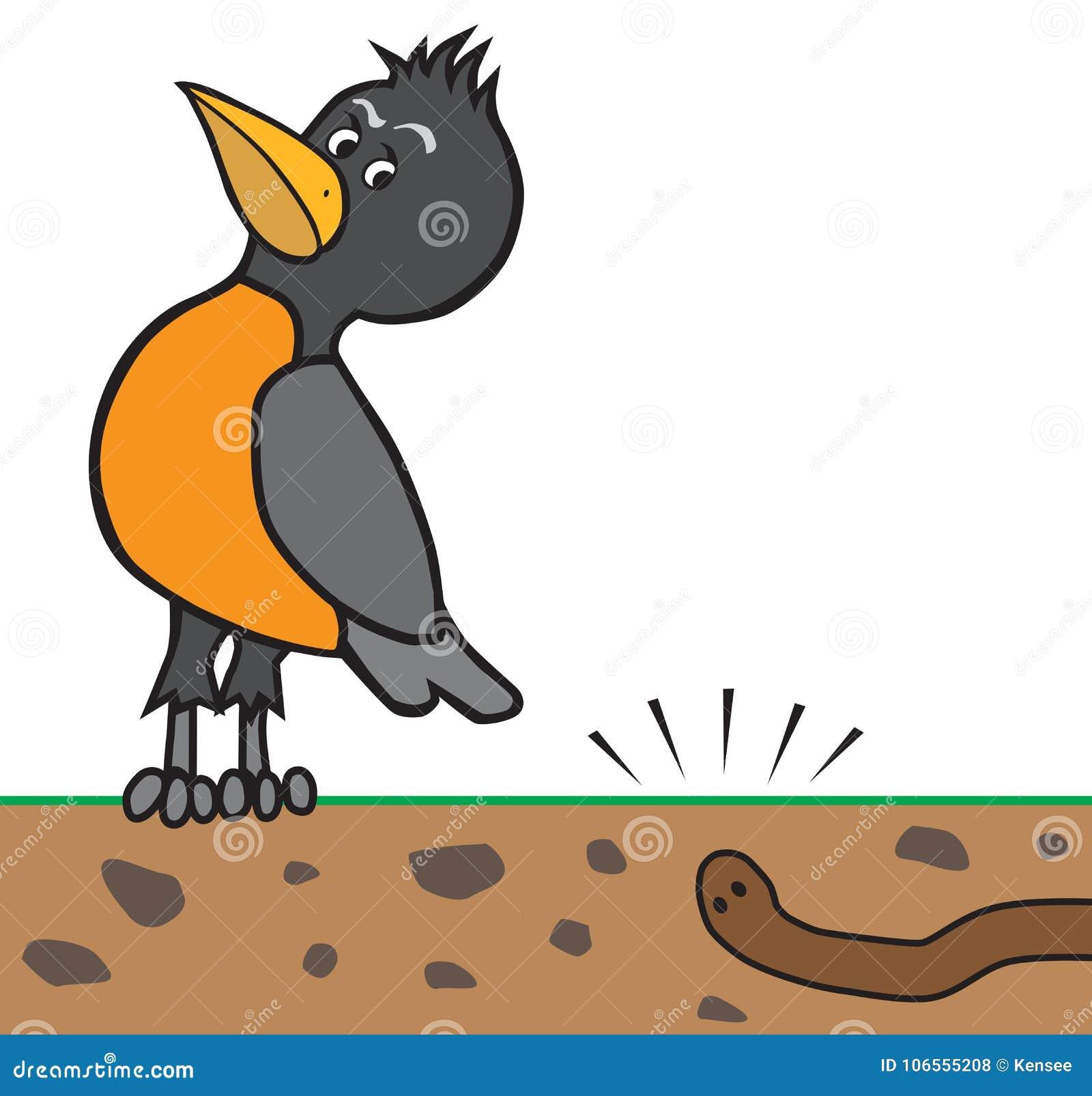 Cartoon Robin Listening To Worm Stock Vector Illustration Of
