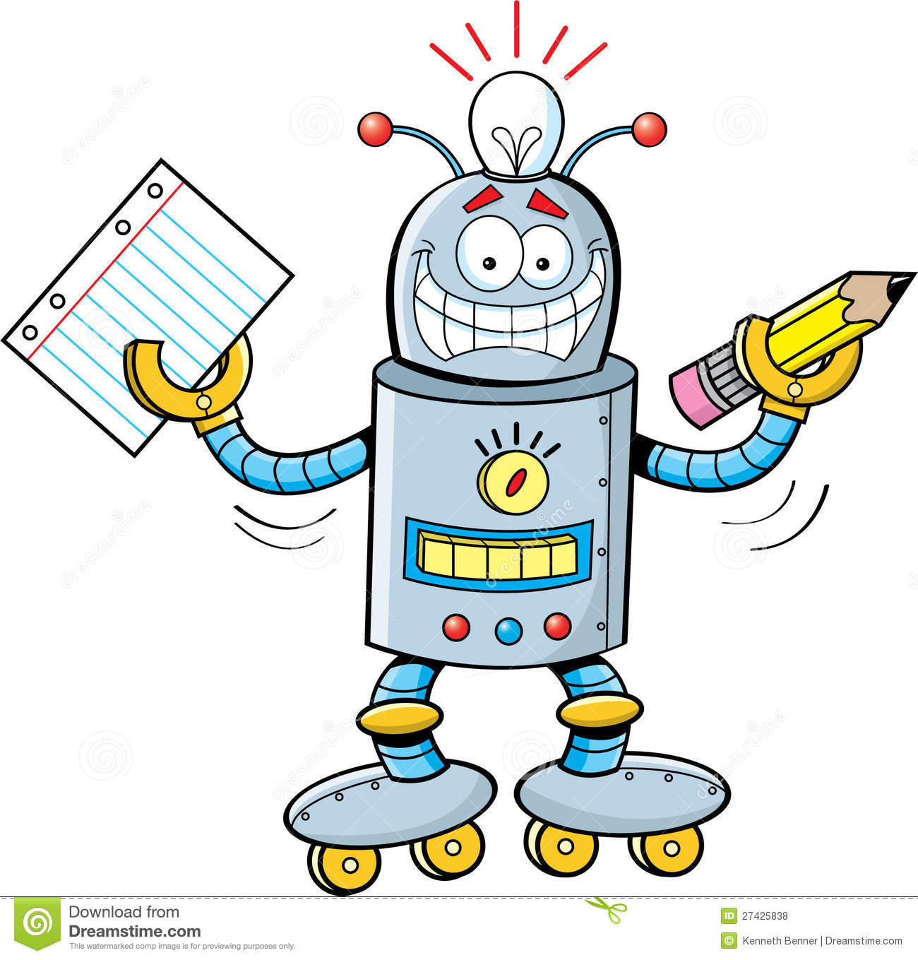 Cartoon Robot Holding A Paper And A Pencil Royalty Free Stock Photos ...