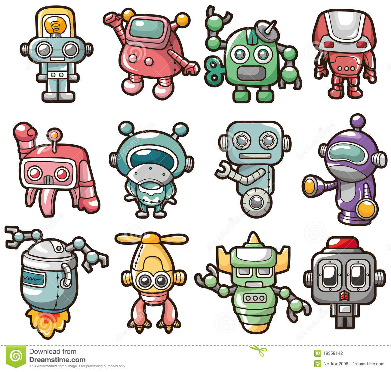 Cartoon Robot Icon Stock Vector. Illustration Of Character - 18358142
