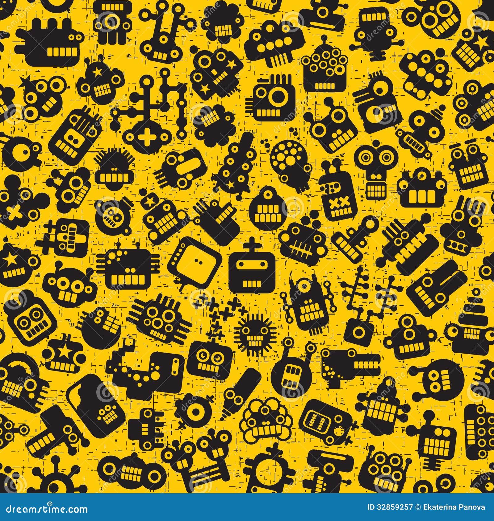 Cartoon Robots Faces Seamless Pattern On Yellow. Stock ...