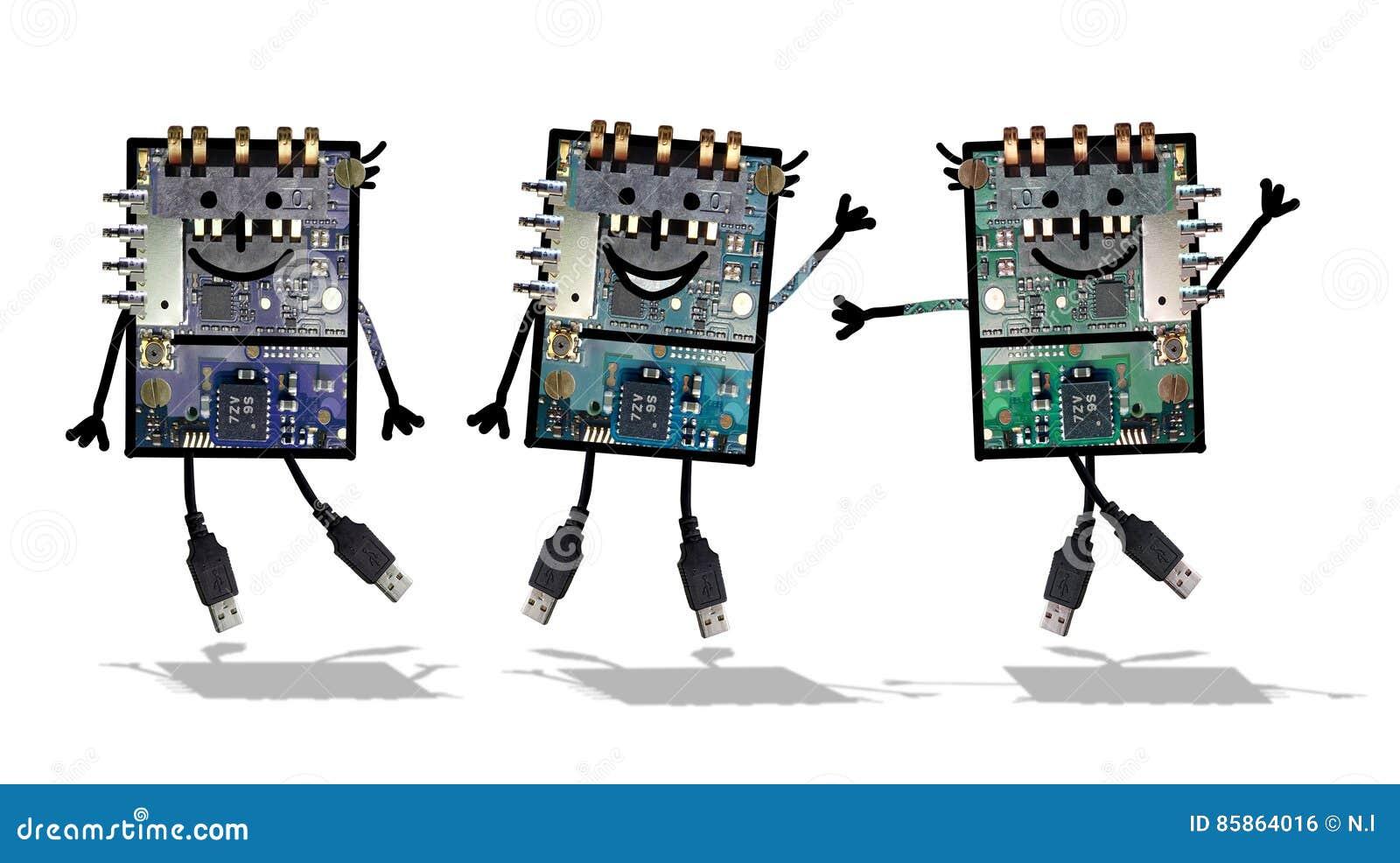 Cartoon Robots Funny Electronics Stock Illustration Illustration
