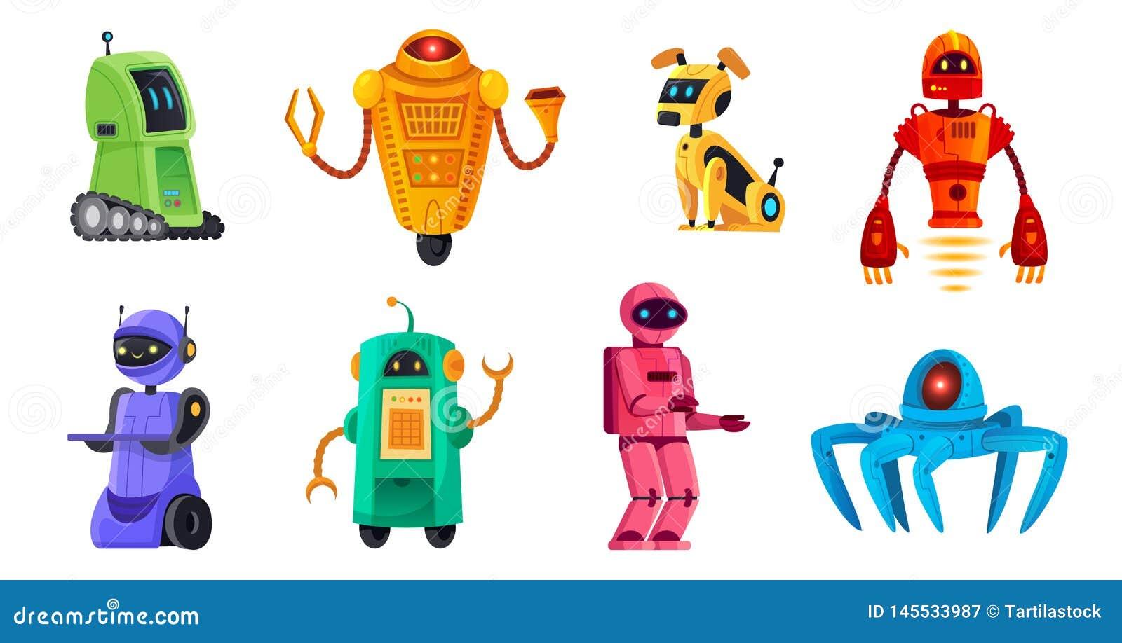 Cartoon robots. Robotics bots, robot pet and robotic android bot characters technology vector illustration set