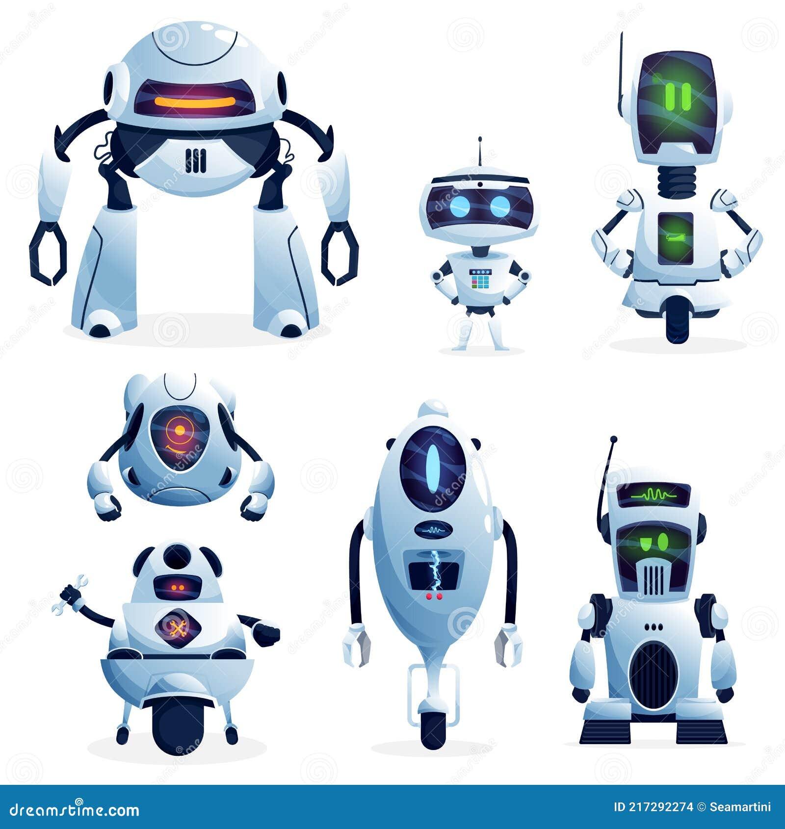 Cartoon Robots, Vector Cyborg Characters, Toys Set Stock Vector ...