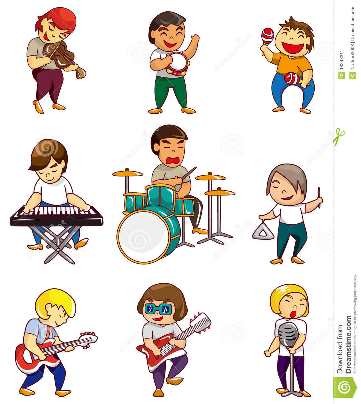 Cartoon Rock Band Icon Stock Image - Image: 18248311