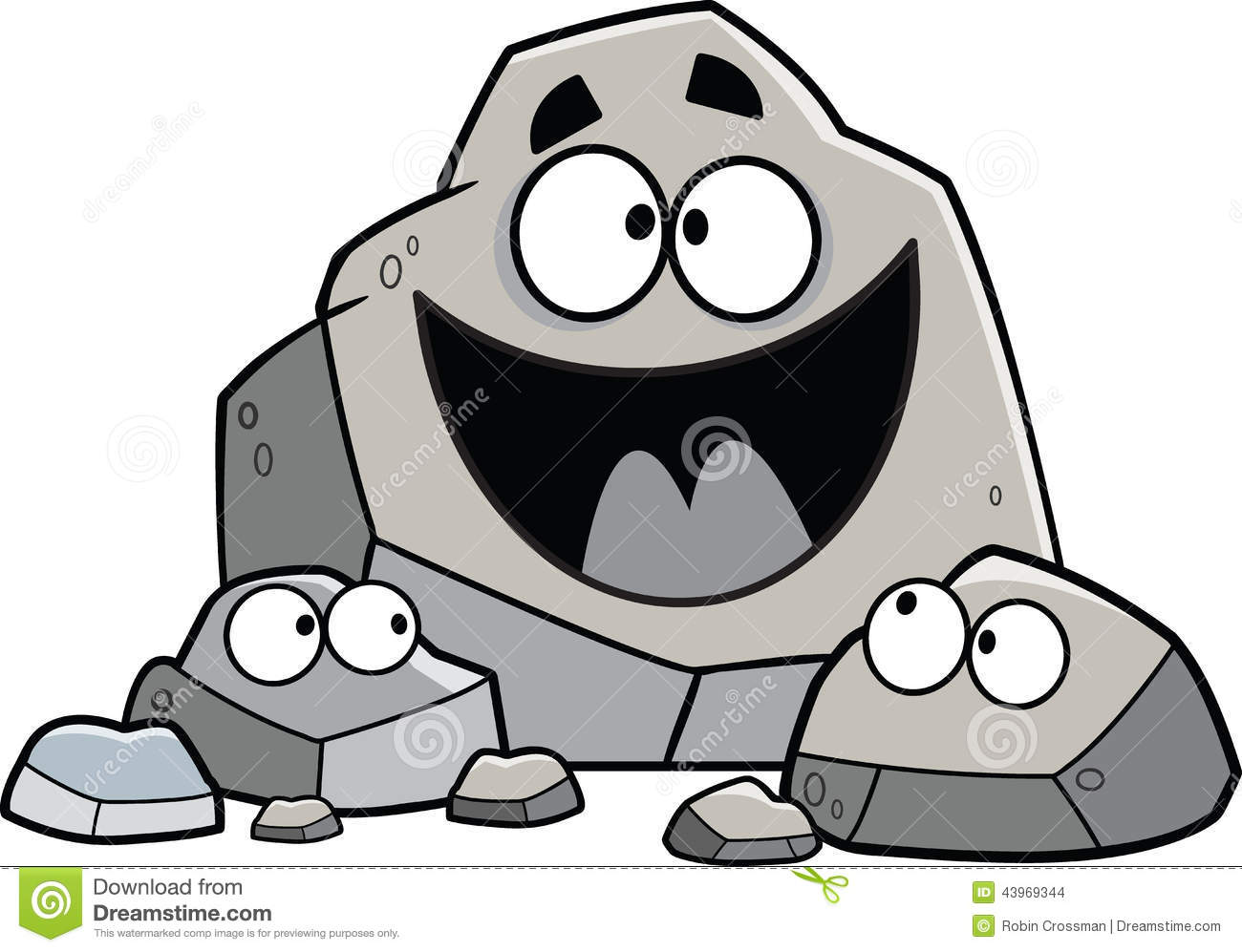 Illustrated set of cartoon rocks with a family theme.