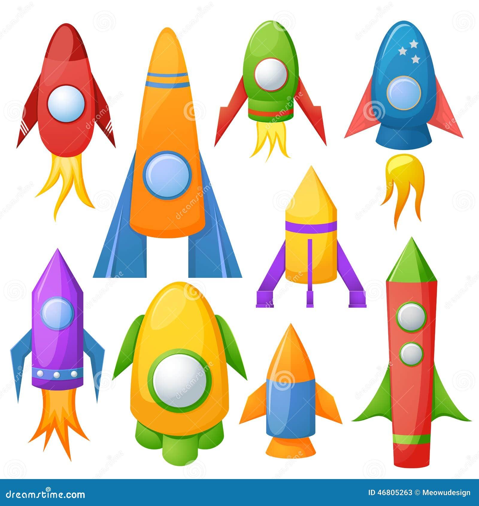 Cartoon Rocket 3D Vector Illustration Set Stock Vector ...